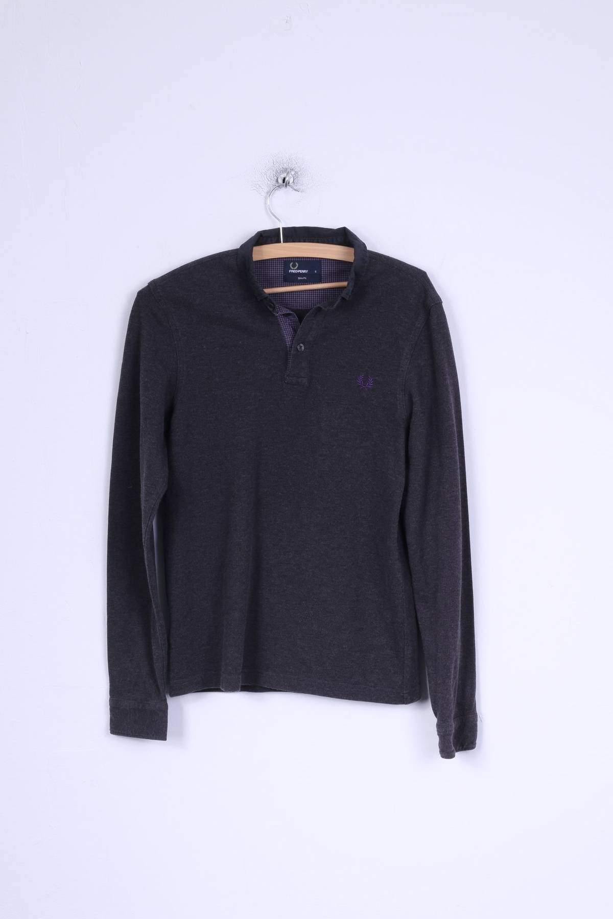 Fred Perry Fred Perry Mens S Polo Shirt Grey Cotton Long Sleeve Slim