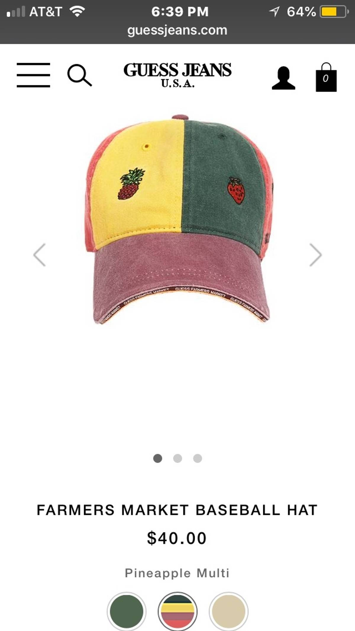 1b08322ca27 Guess Guess Jeans Sean Wotherspoon Guess Farmers Market Baseball Hat  Pineapple Multicolor Size one size - Hats for Sale - Grailed