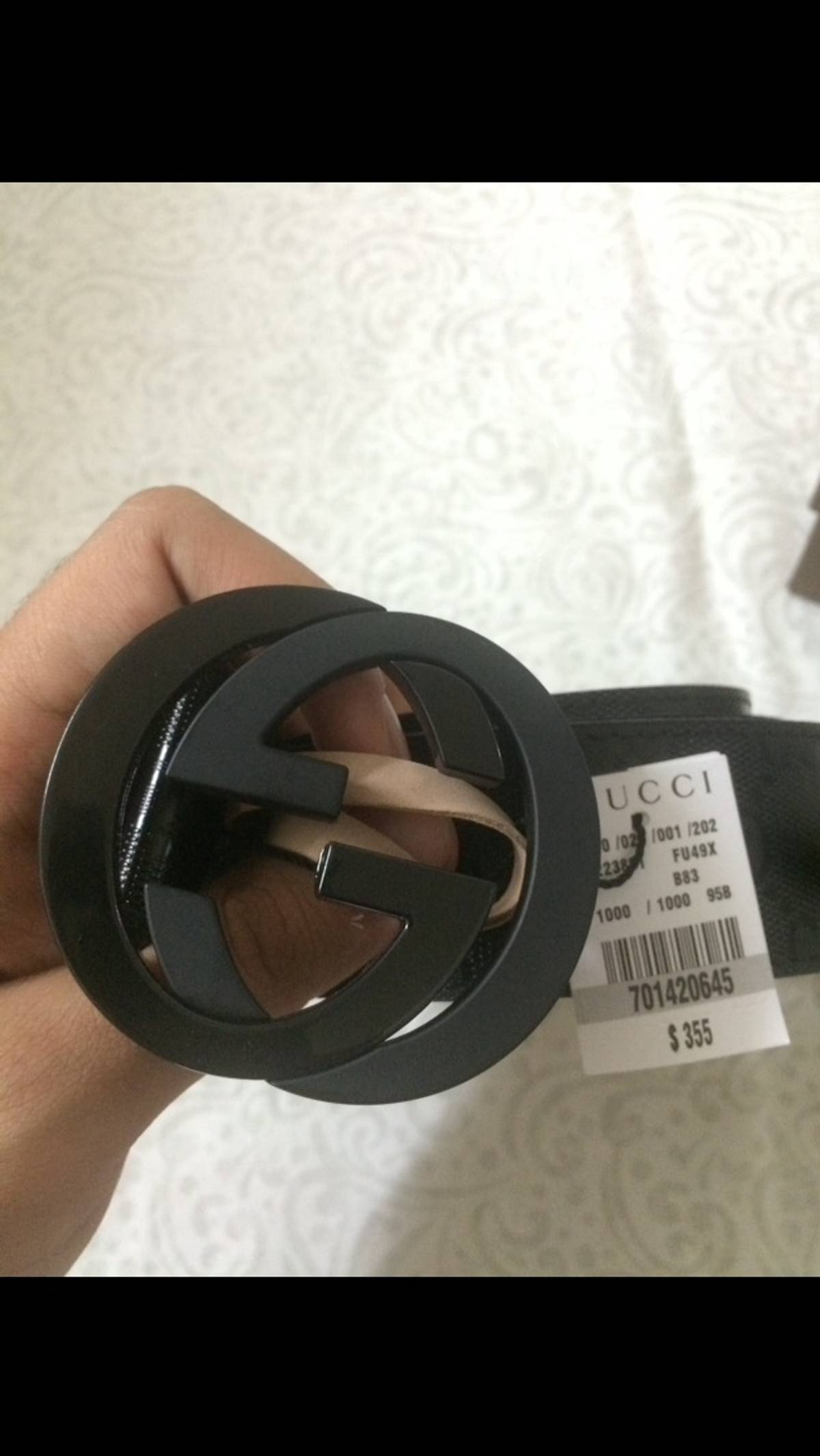 0f6e8eff07a Gucci NWT Authentic Gucci Men s Black GG Imprimé Shiny Belt Size 32 ...