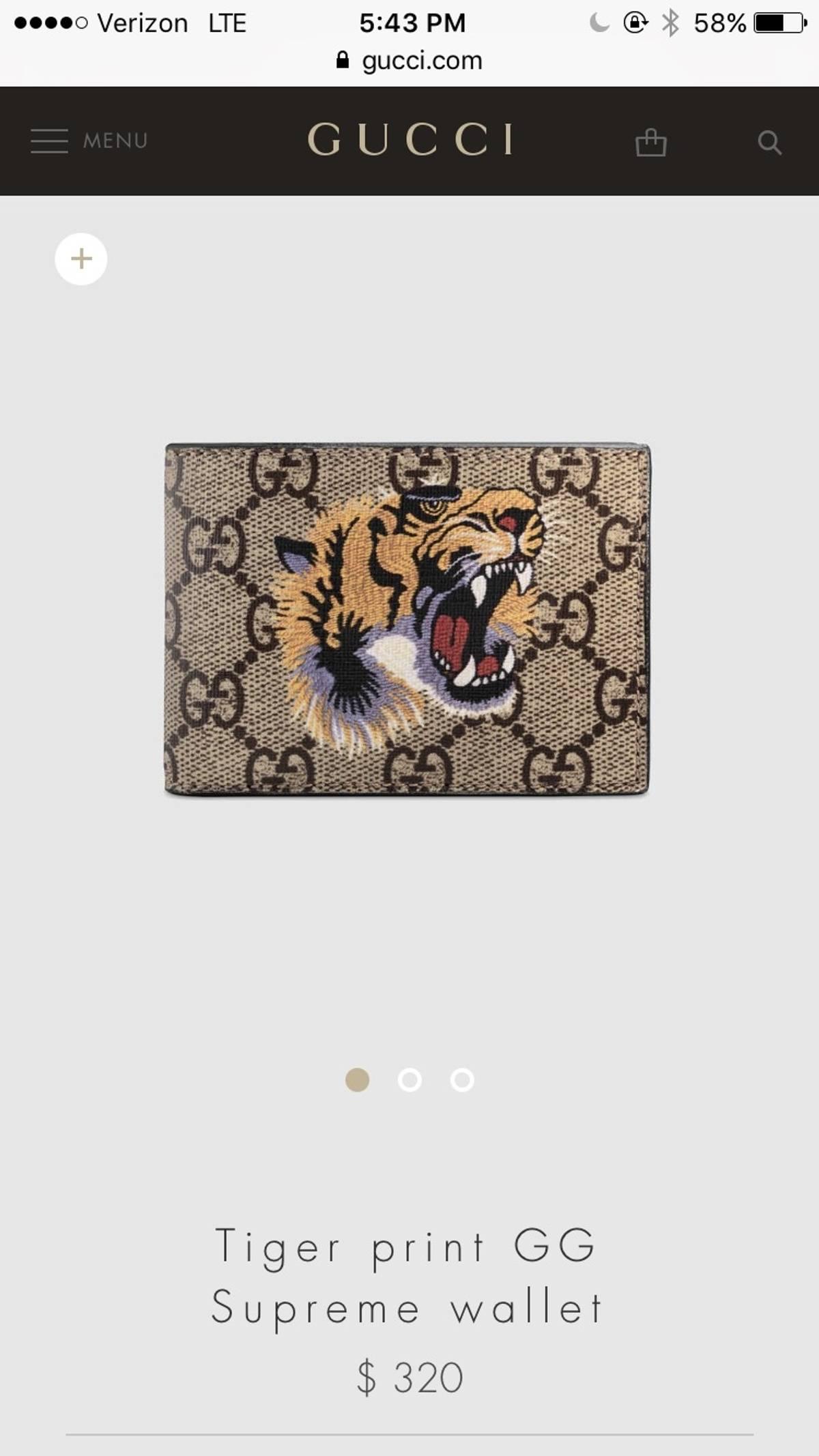 40c5163862c Gucci ×. Tiger Print GG Supreme Wallet