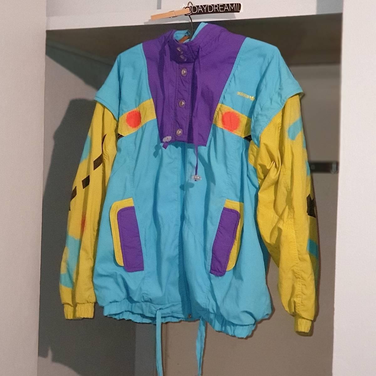 Adidas Adidas Vintage Colorful Colorblock Windbreaker Nylon Jacket Size S $90