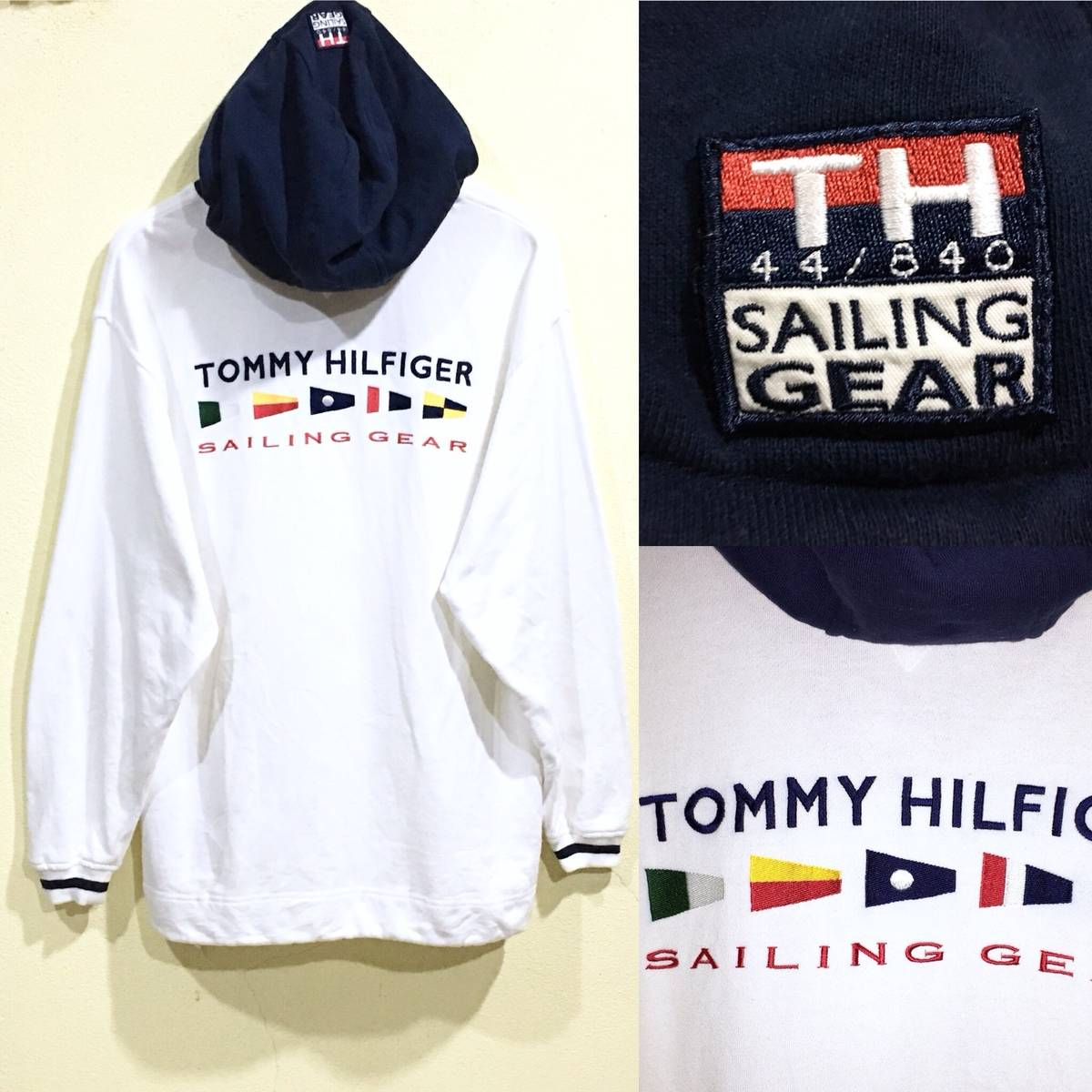 43be312f6 Tommy Hilfiger Vintage Tommy Hilfiger Hoodie Sailing Gear 44/840 Embroidery  Flag Spellout Large Size Pullover Sweater Outdoor Yacht | Grailed