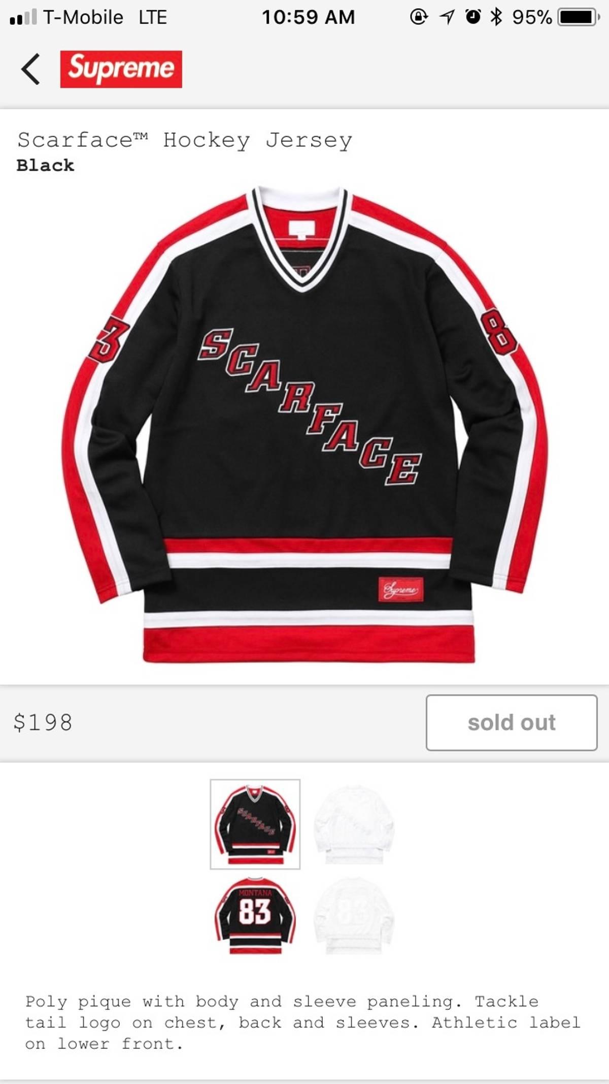 4a8c3a1f72eb Supreme Supreme Scarface Hockey Jersey Black Medium   Grailed