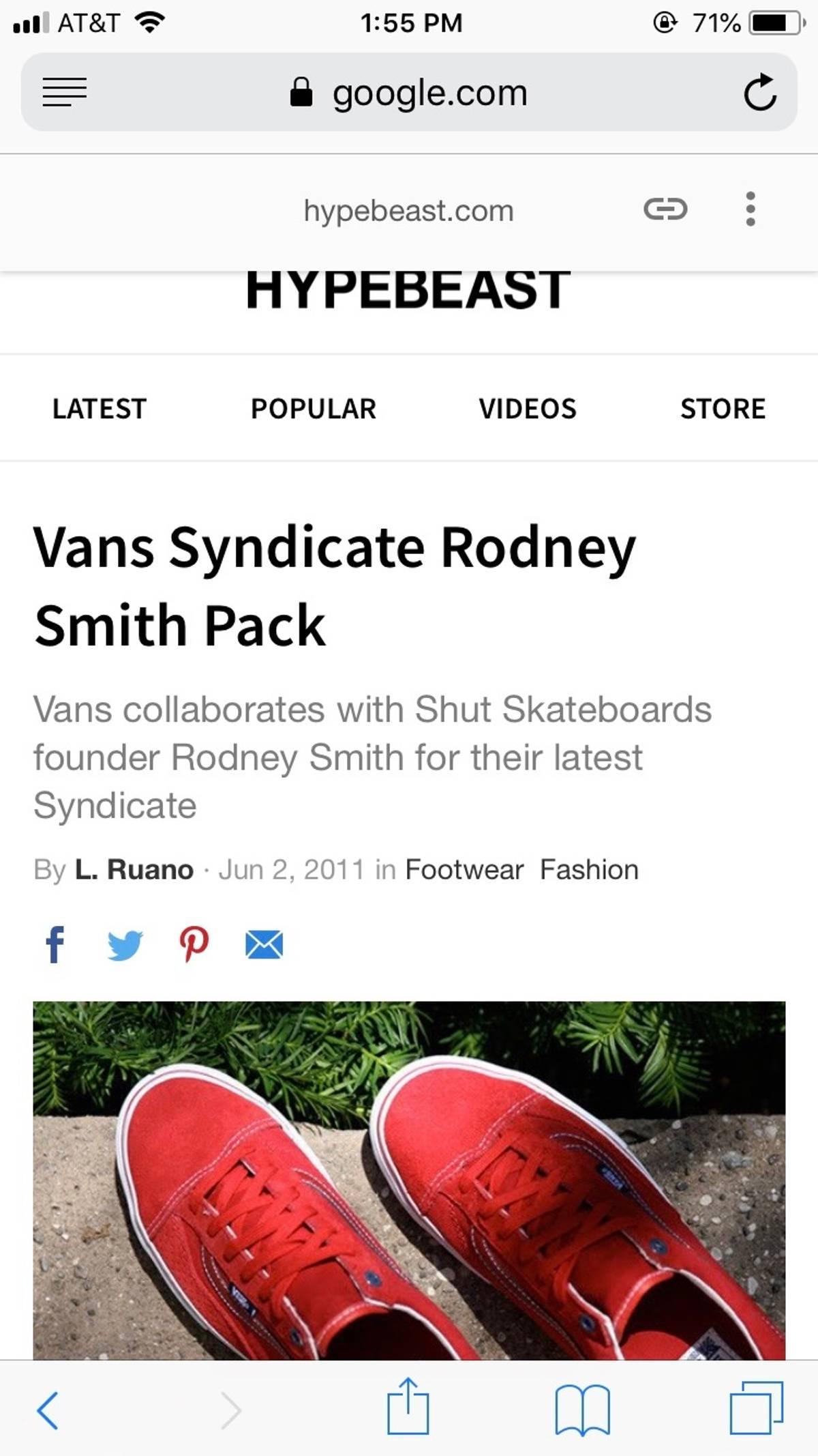 566fb5a760 Vans Rare Steal Vans Syndicate Rodney Smith Old Skool Og