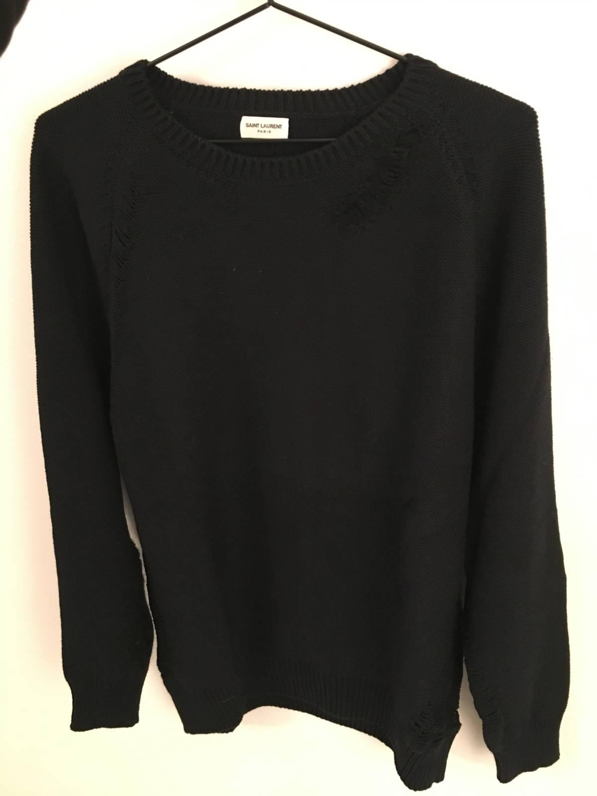 2b0d793788d Saint Laurent Paris Saint Laurent Black Distressed Wool Sweater ...