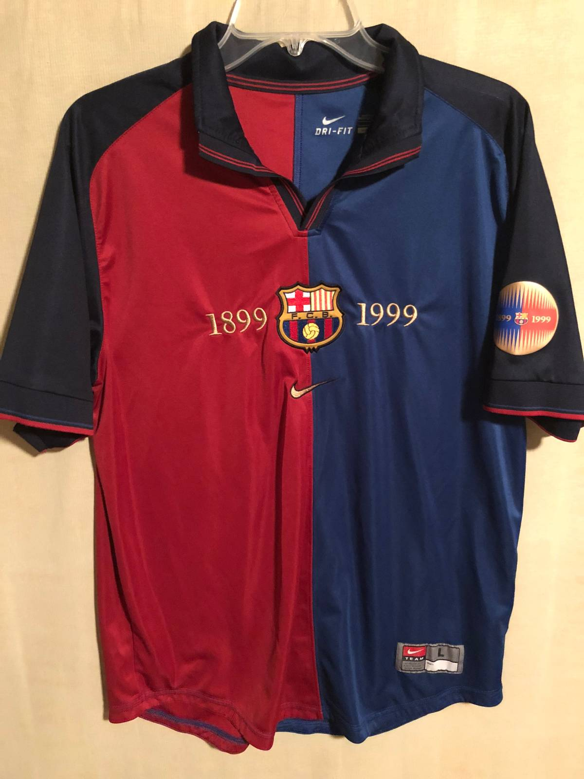 3a97c2dc4 F.c. Barcelona Barcelona 1999-2000 Retro 100 Year Anniversary Jersey ...