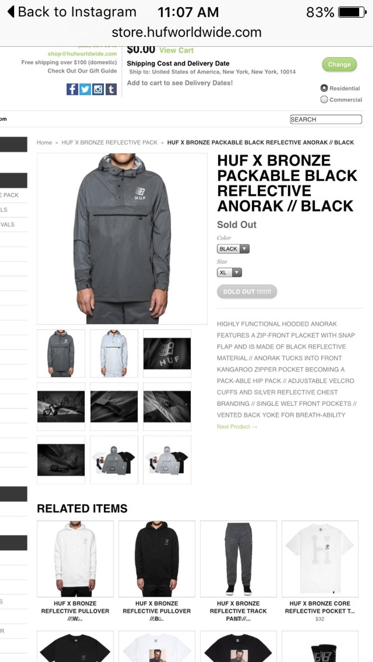 444363ae904e4 Huf Huf X Bronze Reflective Anorak   Grailed