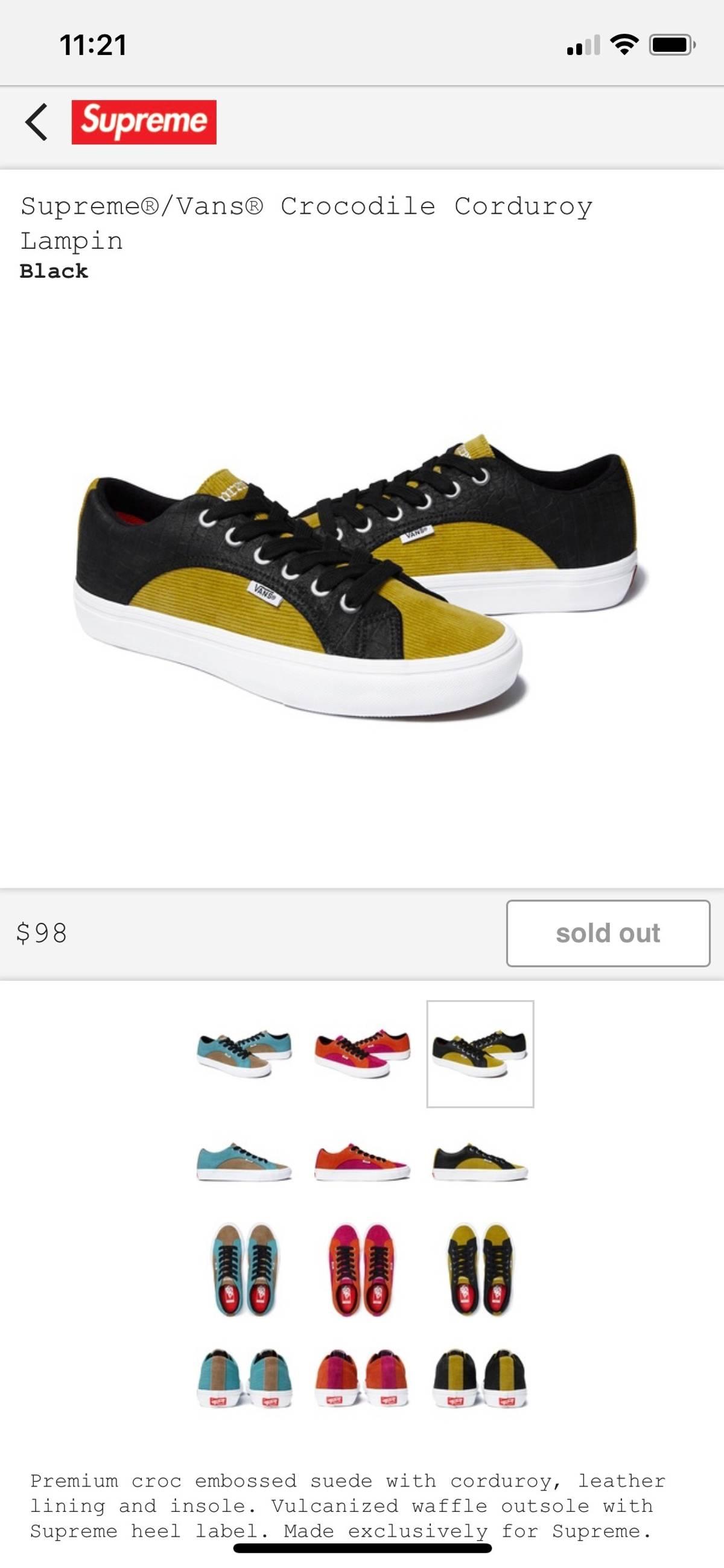 affdc90cc5 Supreme × Vans. Supreme x Vans Crocodile Corduroy Shoes