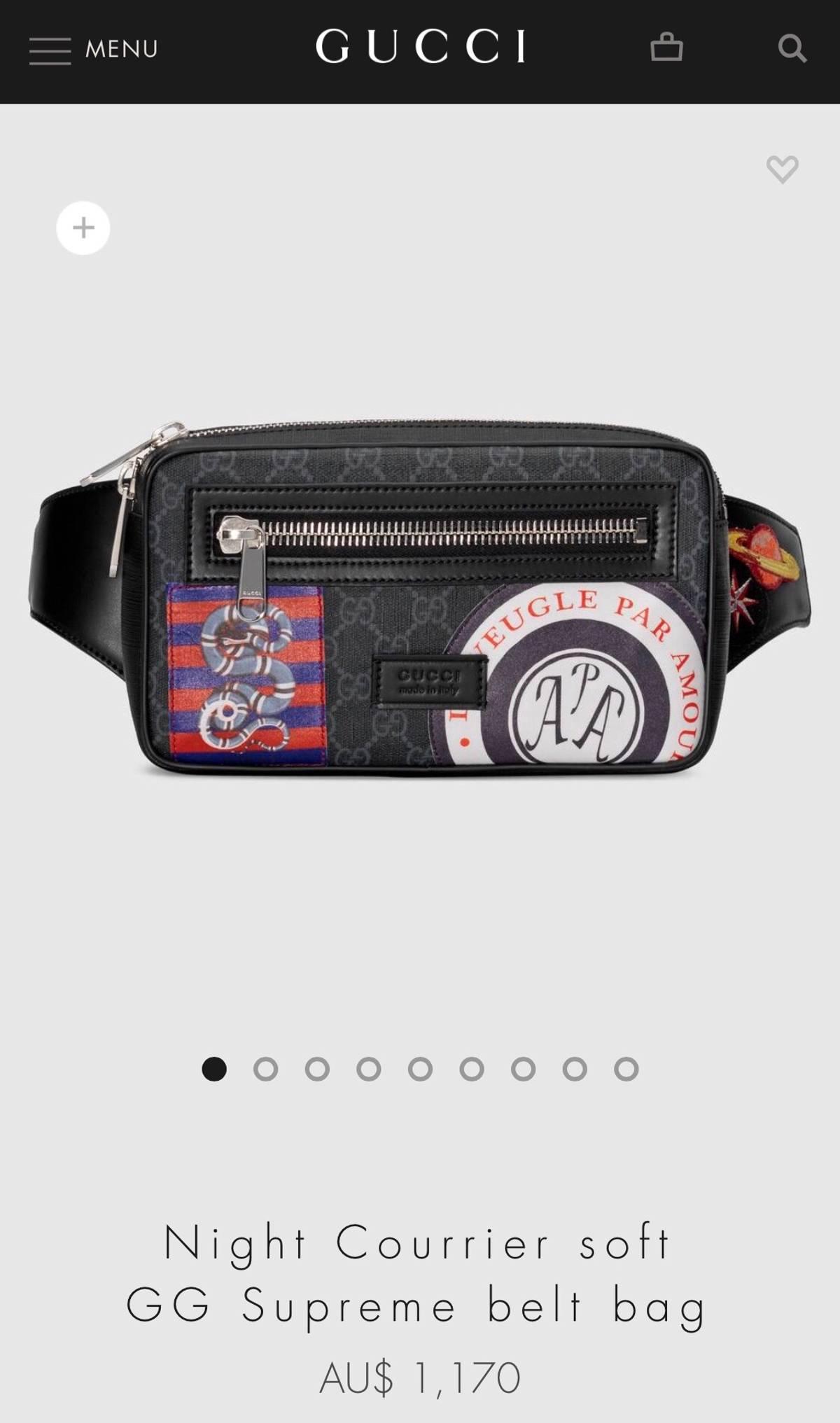7ff65595a87 Gucci ×. Night Courrier Soft GG Supreme Belt Bag