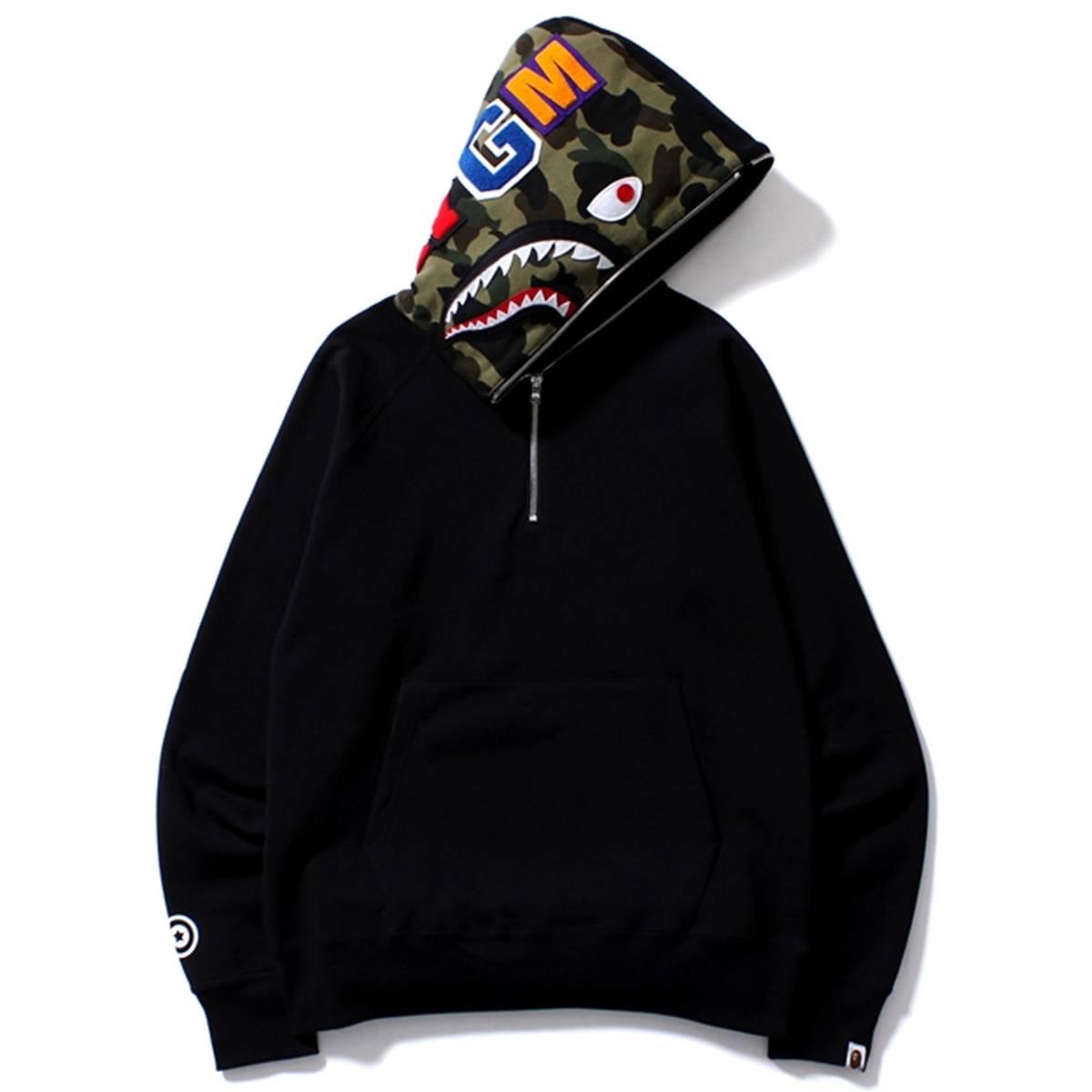 9c2b8393938a Bape Half-Zip Sweat Shark Hoodie Black - Bape L Size l - Sweatshirts    Hoodies for Sale - Grailed