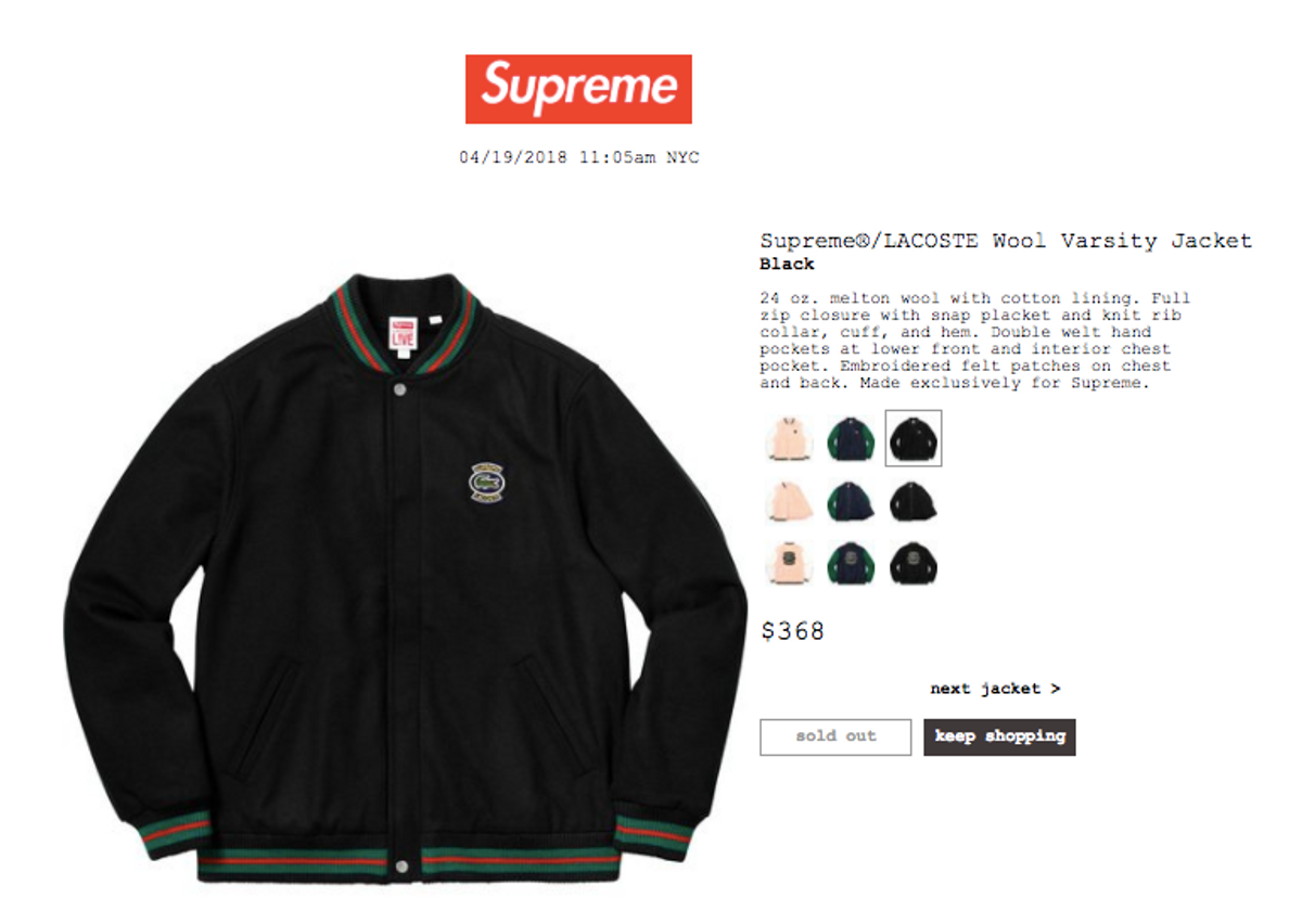 a2968ce56f3e Supreme Supreme x Lacoste Wool Varsity Jacket Black Large SS18 Size l -  Bombers for Sale - Grailed