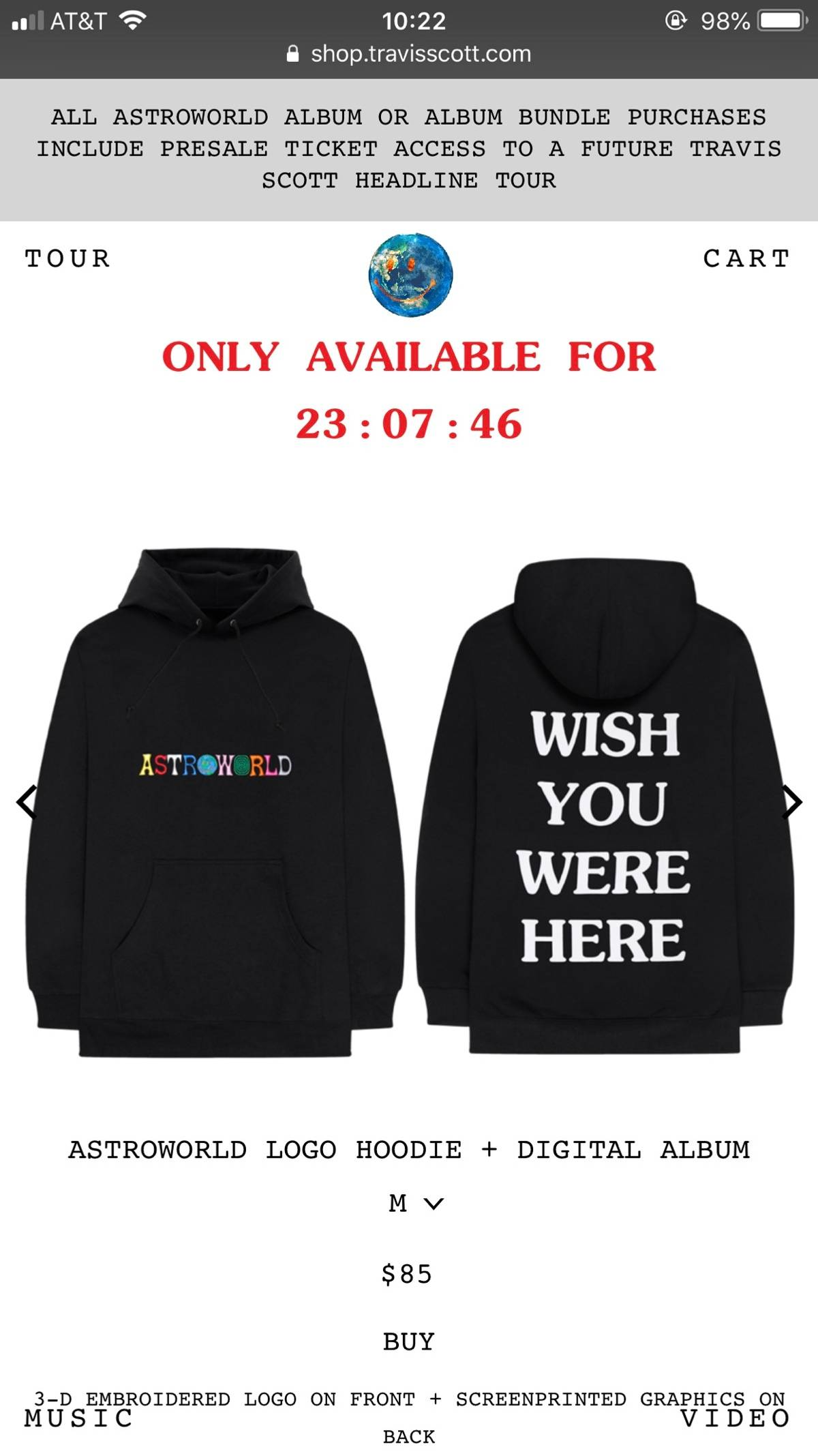 84bd5717f76f Travis Scott ×. ASTROWORLD WISH YOU WERE HERE BLACK HOODIE. Size: US M ...