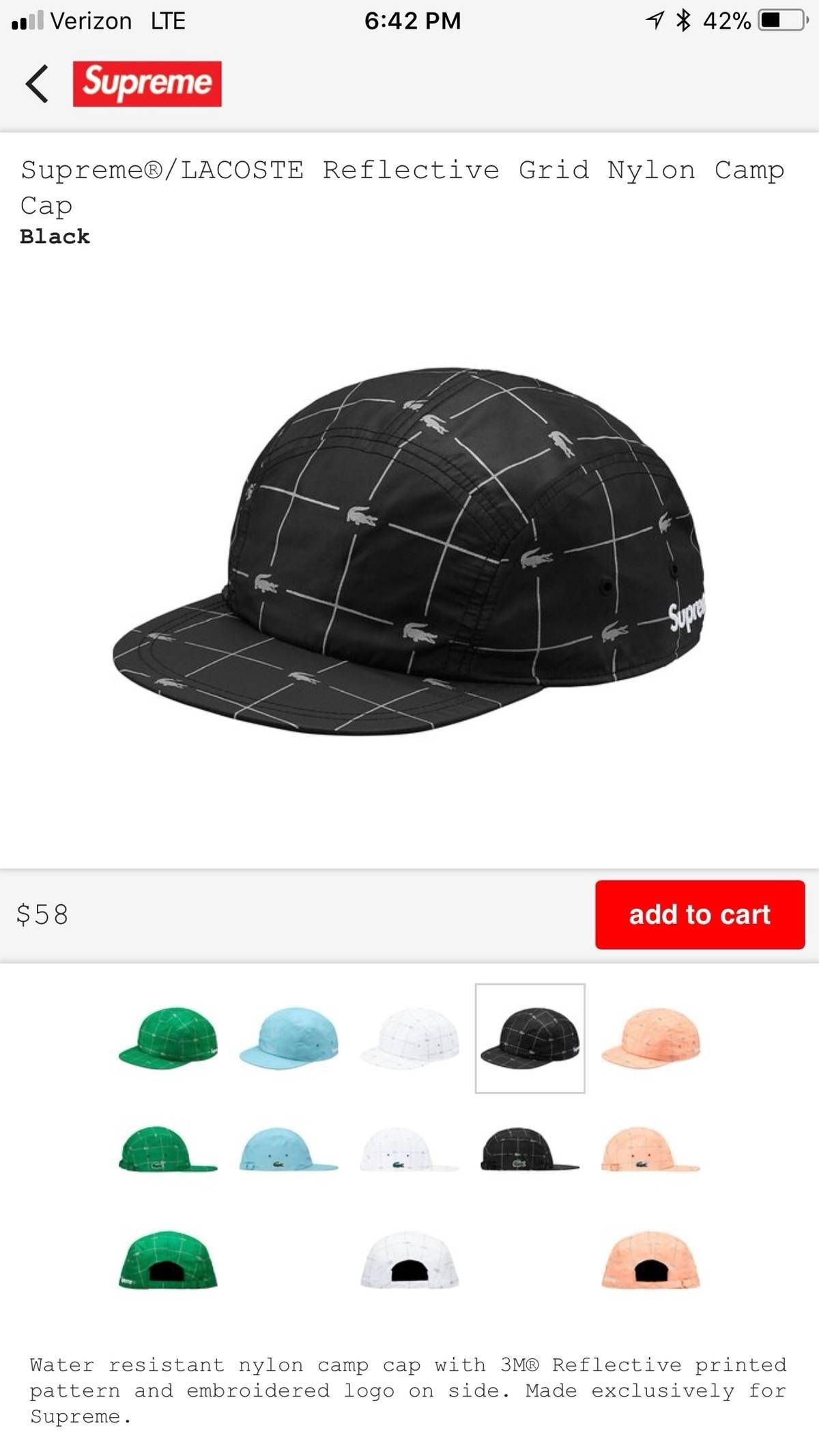 4a8af78f9ca ... ebay supreme supreme lacoste reflective grid nylon camp cap black size  one size hats for sale