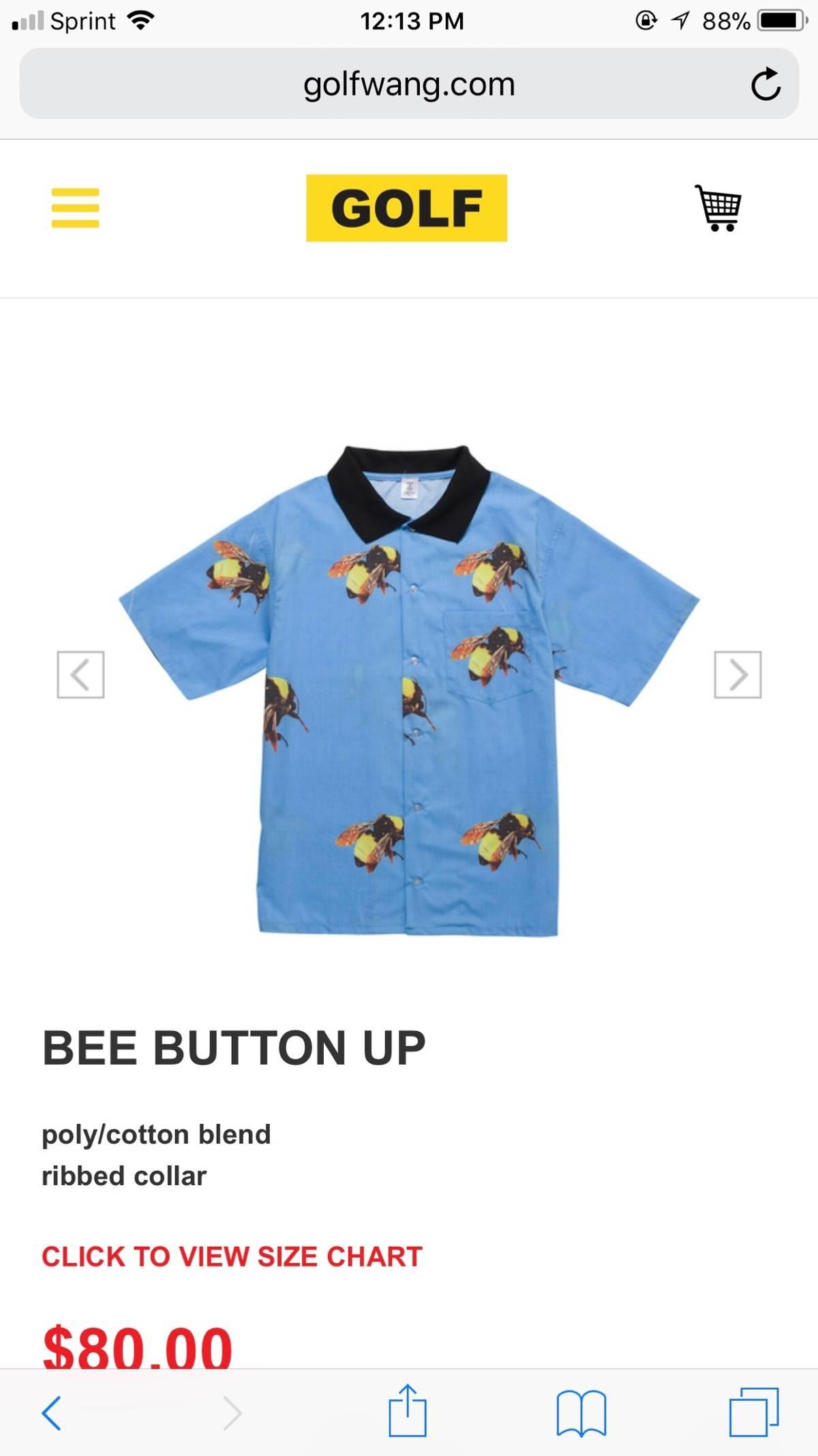 3b4571c9e01b Golf Wang Golf Wang Bee button up Size s - Shirts (Button Ups) for ...