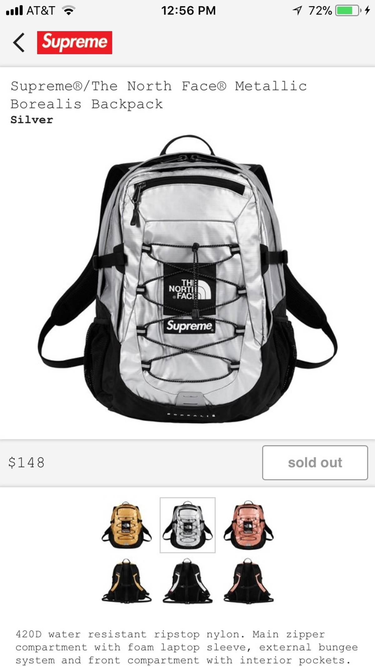 45752079c02 Supreme × The North Face ×. Supreme®/The North Face® Metallic Borealis  Backpack (Silver)