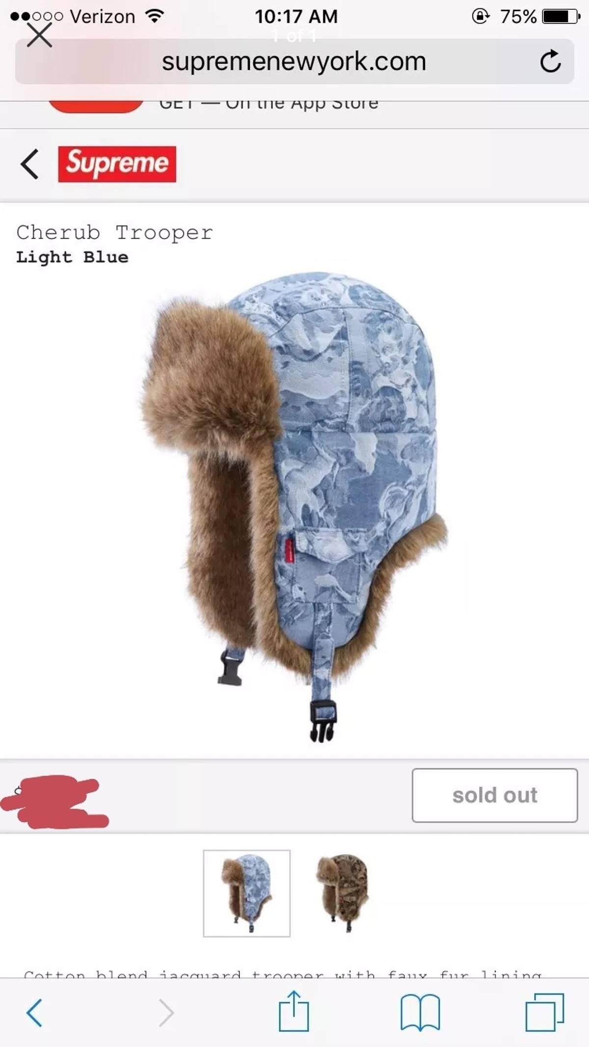 b4dadfd4 Supreme ×. Supreme Cherub Trooper Hat Brand New. Size: ONE SIZE