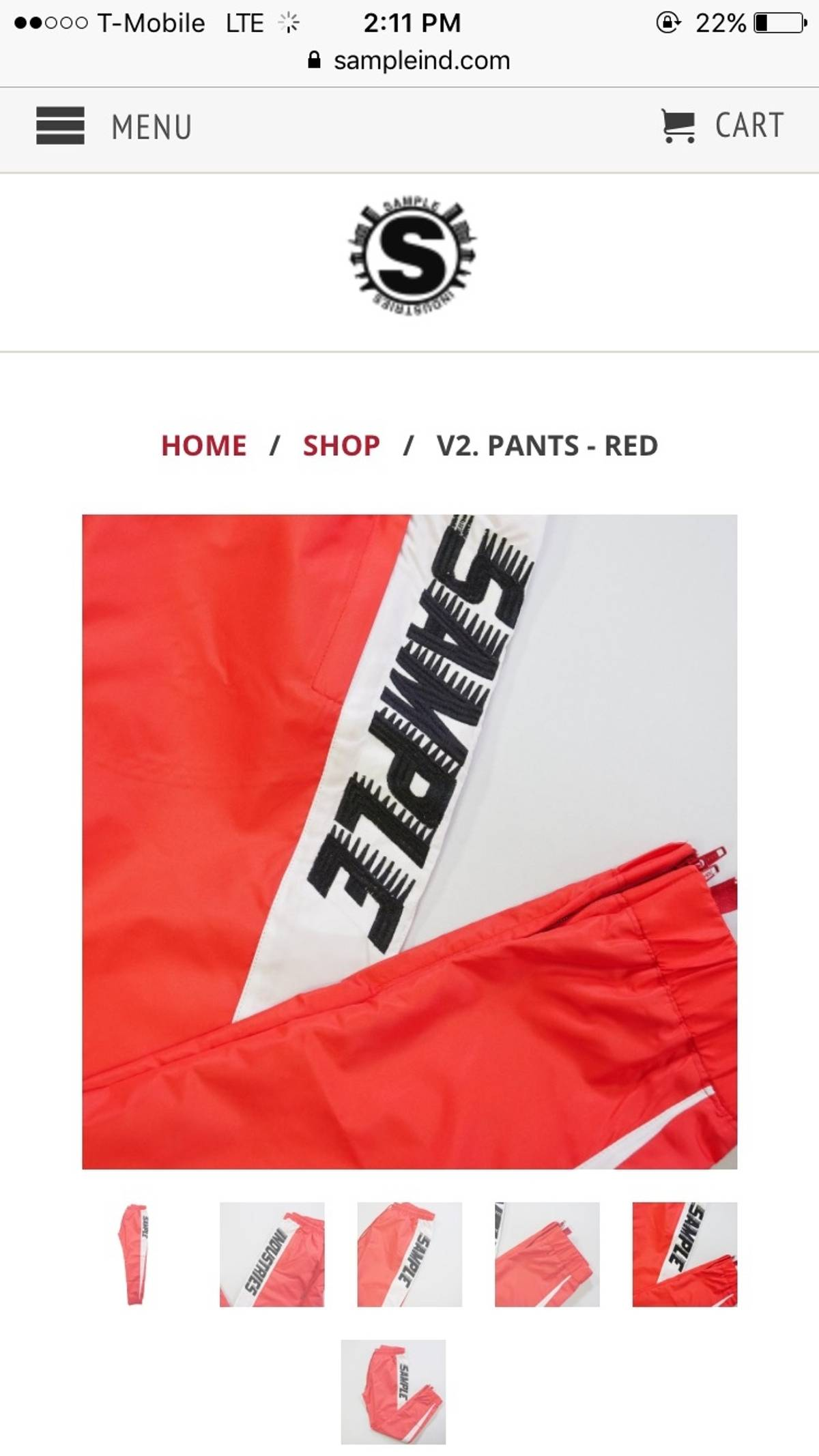 Sample Industries V2 Pants Red Size 30