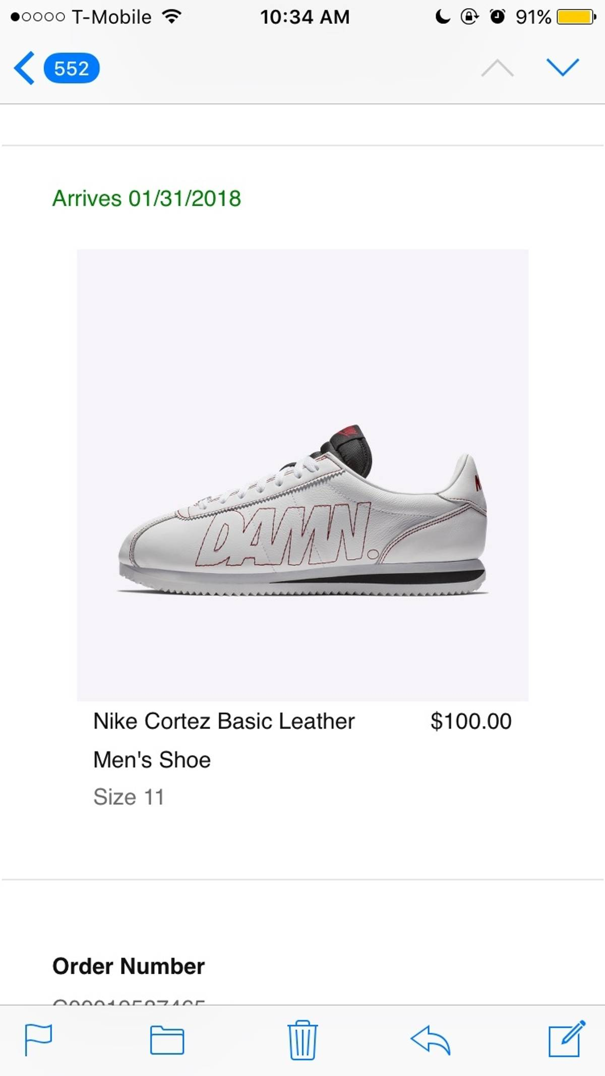 new concept 55d62 31706 Kendrick Lamar × Nike Cortez Kenny 1 Damn White Gym Red Size 11 $299