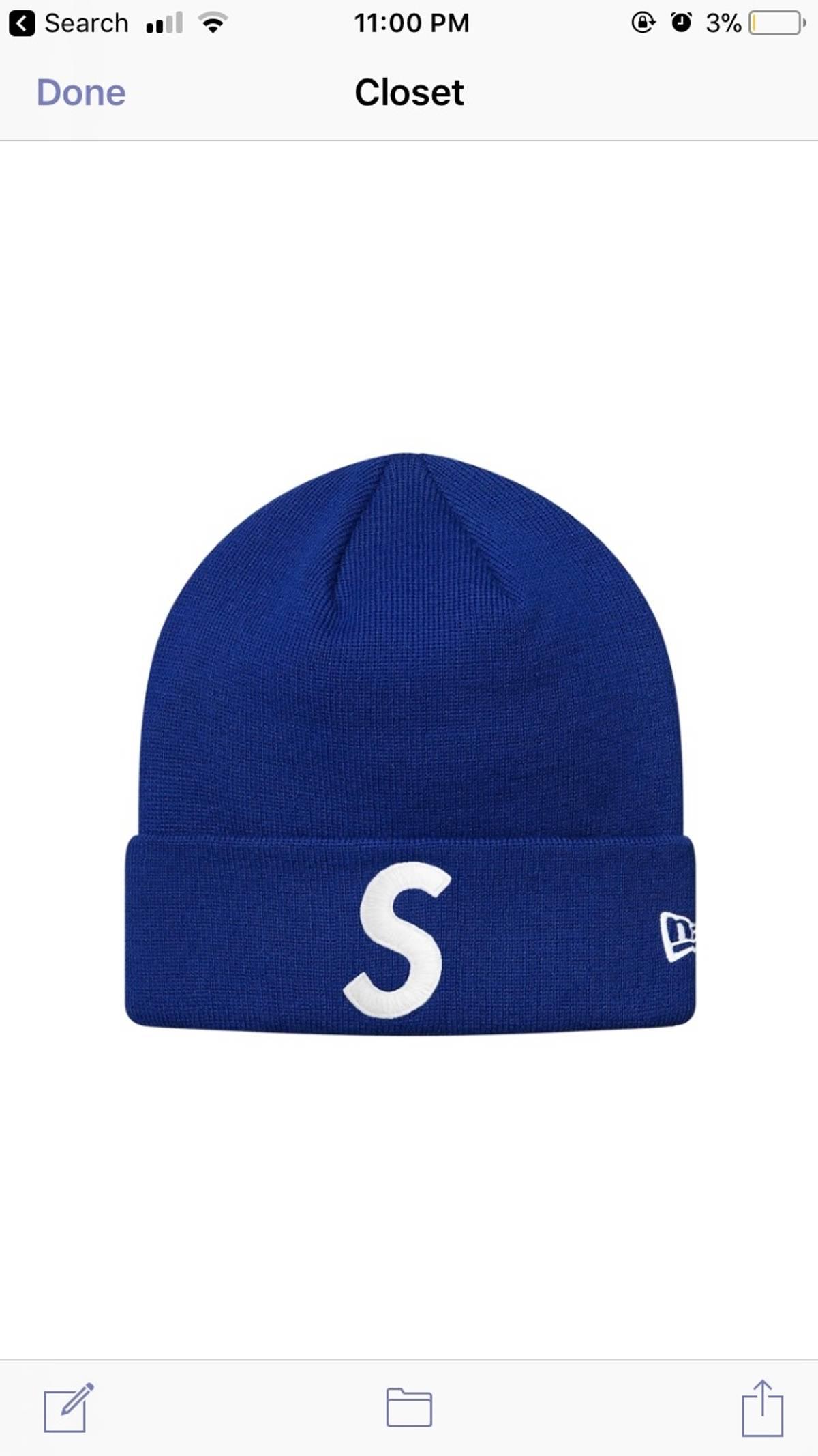 1e2207a71 New Era × Supreme Royal Blue S Logo Beanie Size One Size $65