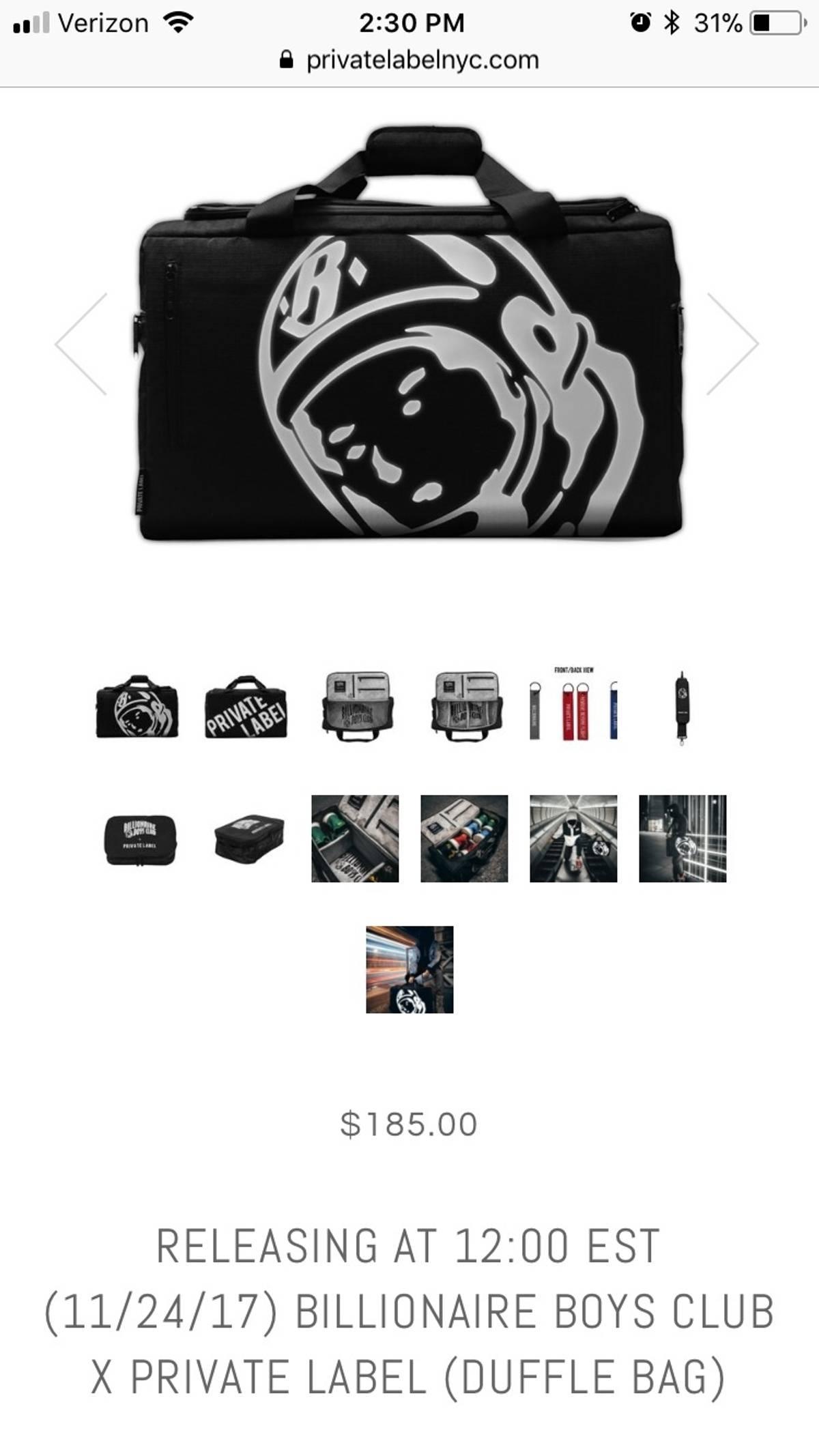 5bd6d471efc5e5 Billionaire Boys Club BBC X Private Label Duffle Sneaker Bag Size one size  - Bags   Luggage for Sale - Grailed