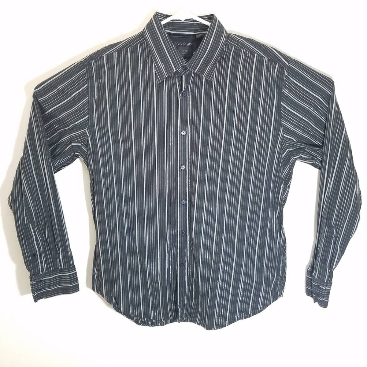 7c542b7b81d9 Guess ×. Guess by Marciano Mens XL Sequin Sparkle Stripe Long Sleeve Button  Down Shirt