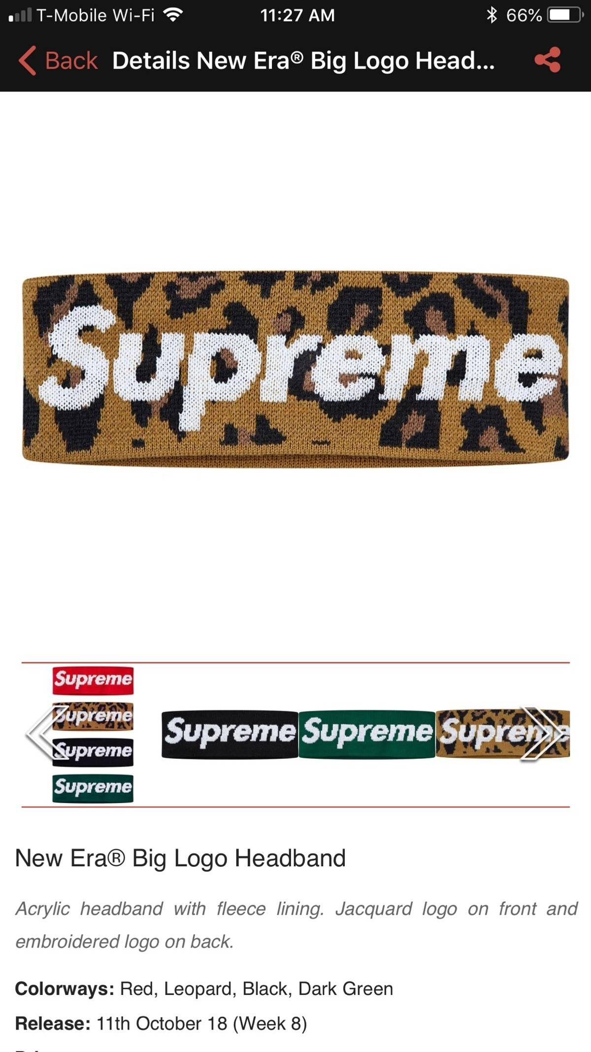 84008945322 Supreme ×. Supreme New Era Big Logo Leopard Headband