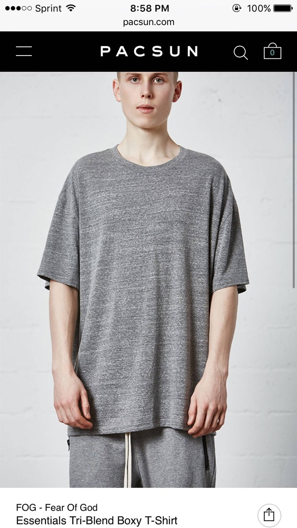 56e1c03bfe323 Pacsun Fear Of God Pacsun FOG Essentials Tri-Blend Boxy T Shirt Size s -  Short Sleeve T-Shirts for Sale - Grailed