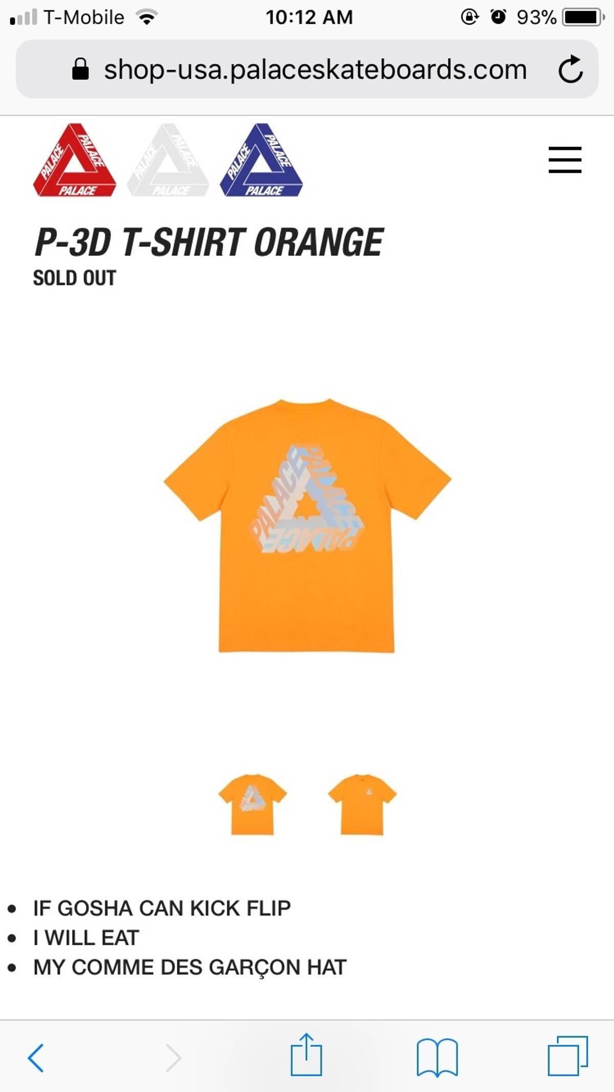 205dfd602035 Palace ×. P-3D T-shirt Orange. Size  US M   EU 48-50 ...
