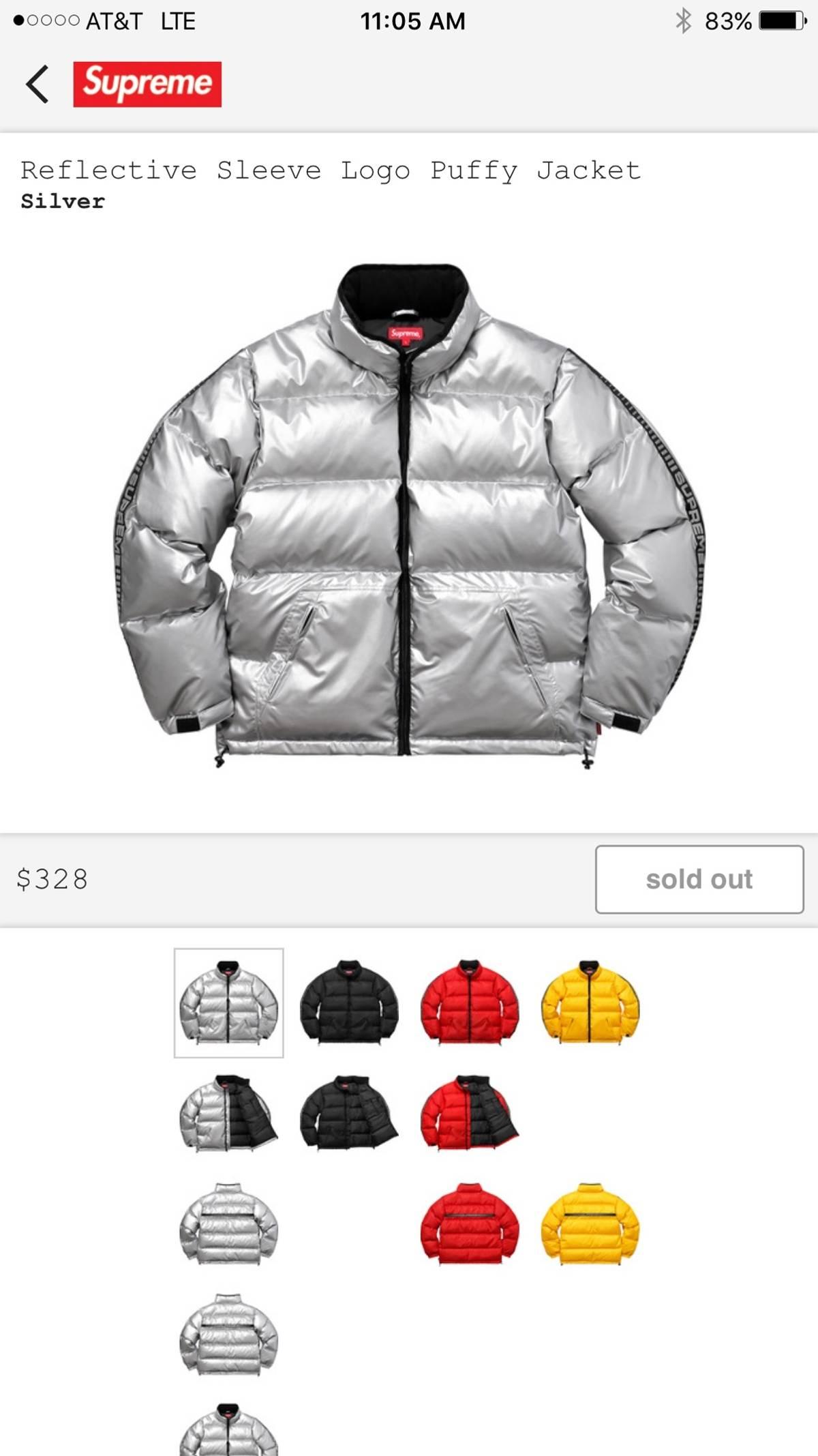 a50067b3 Supreme Reflective Sleeve Logo Puffy Jacket | Grailed