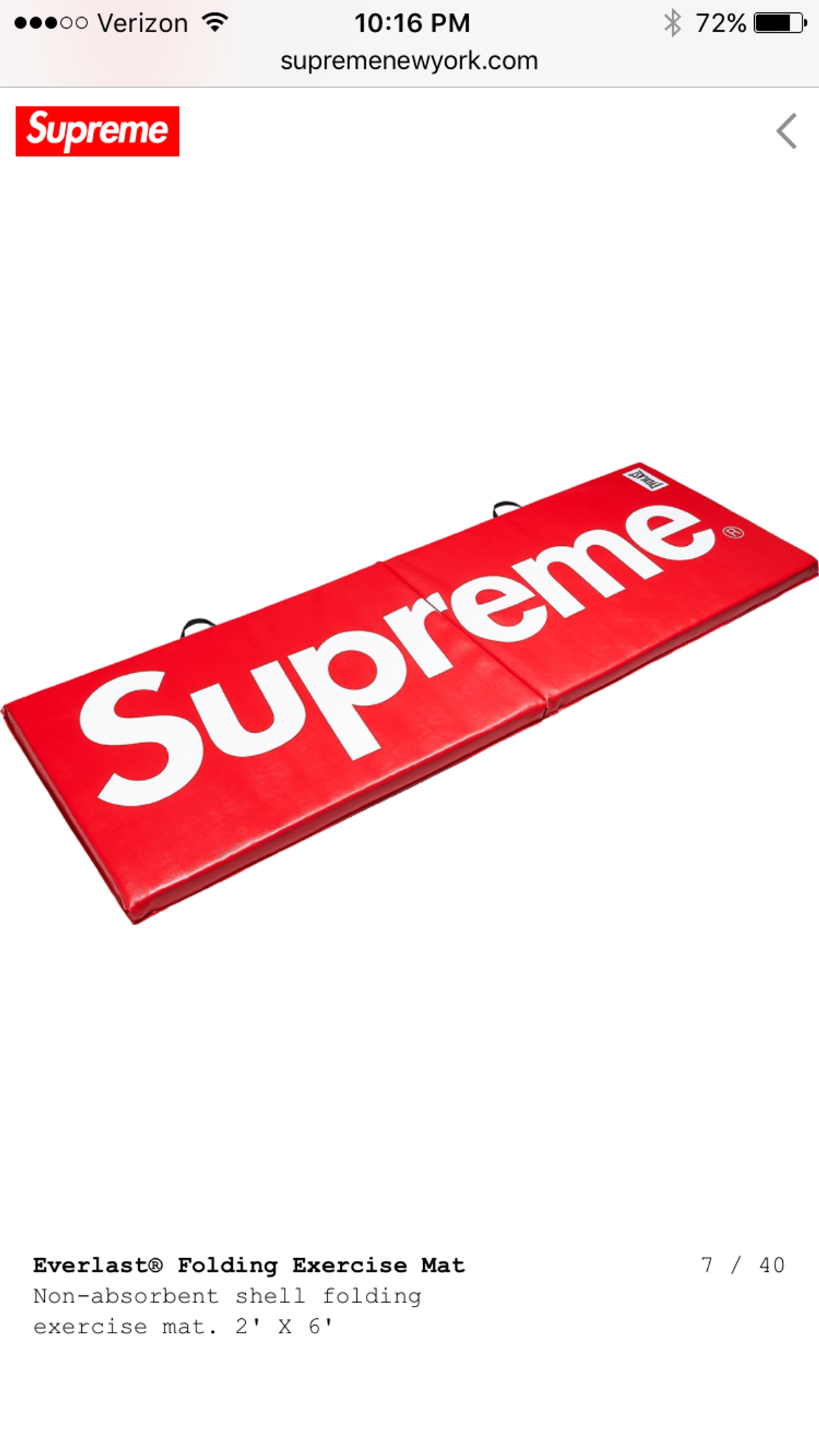 Supreme Supreme®/Everlast® Folding Exercise Mat 2' X 6' Size One Size $158