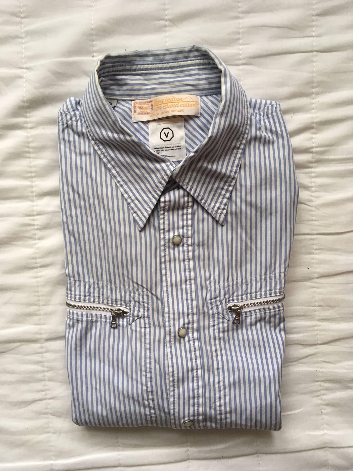 Visvim West Indian Sea Island Cotton Striped Zip Pocket Shirt Size