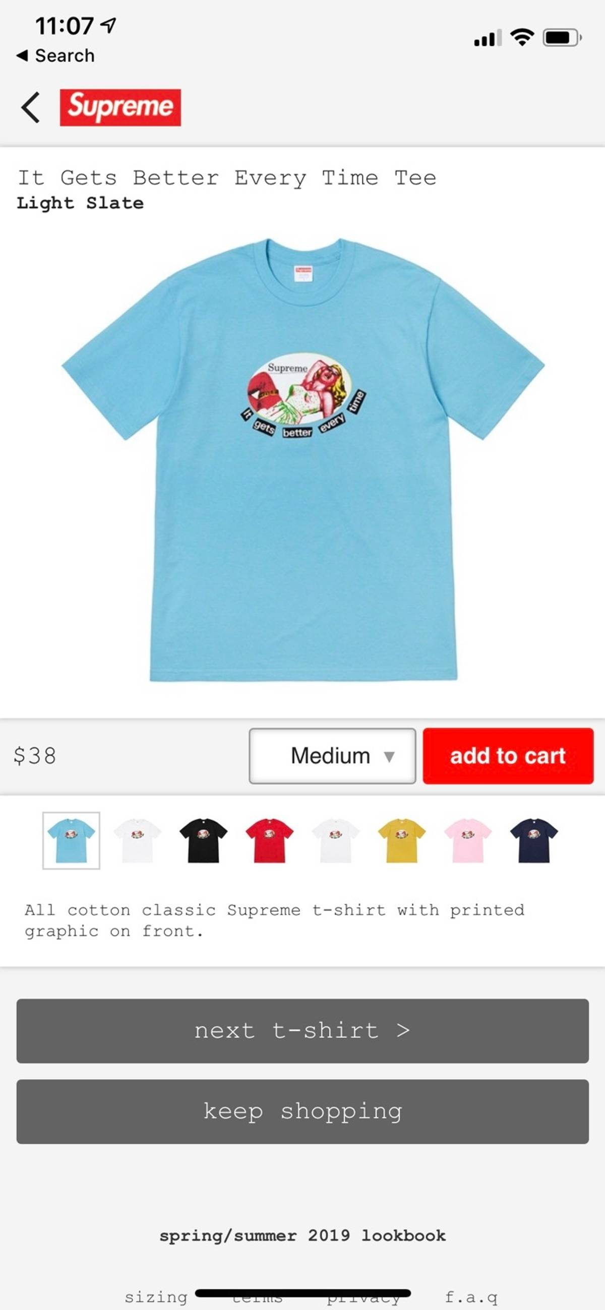 c0ba55586ac2 Supreme It Gets Better Every Time Tee | Grailed