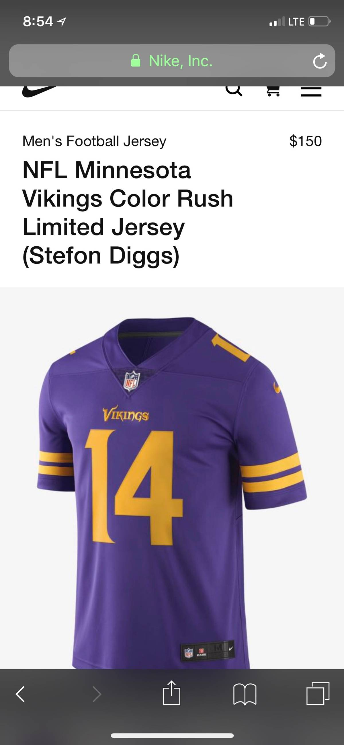 new products 40792 73981 Nike Minnesota Vikings Color Rush Authentic Steffon Diggs 14 Size M $81