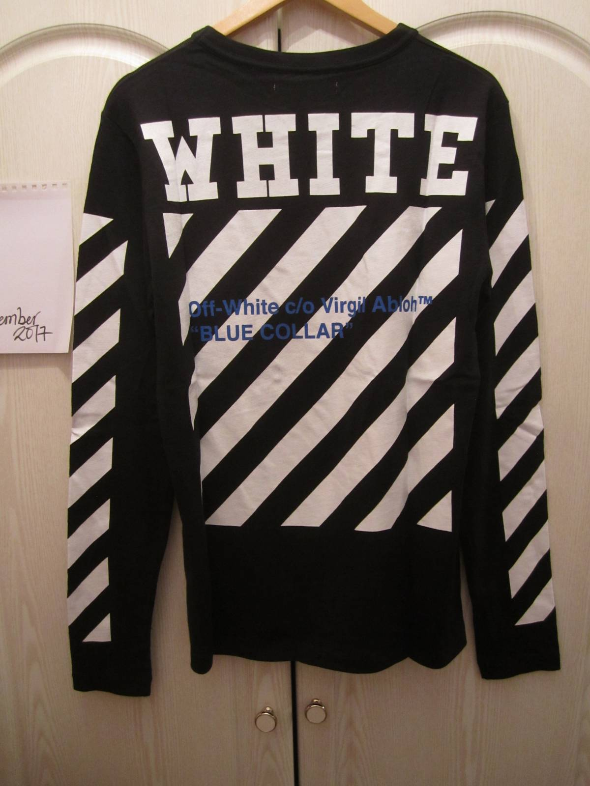 Off-White Off White Blue Collar Long Sleeve Tshirt Black New Small ... 3a1f8177c
