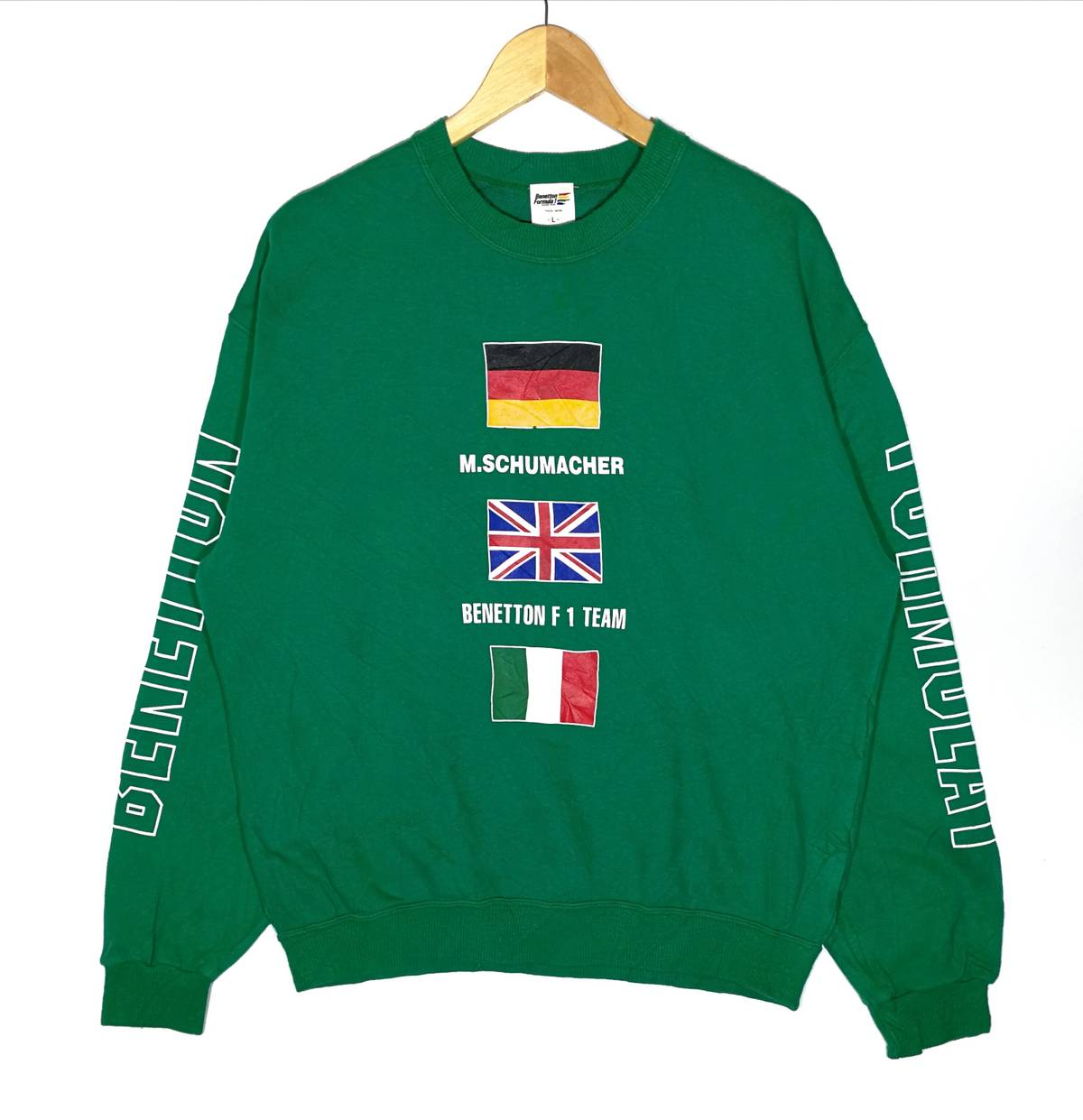 Hot Item!! vintage Benetton Sweatshirt Big Logo Size Large Benetton Formula 1 Activewear Streetswear Very Good Condition