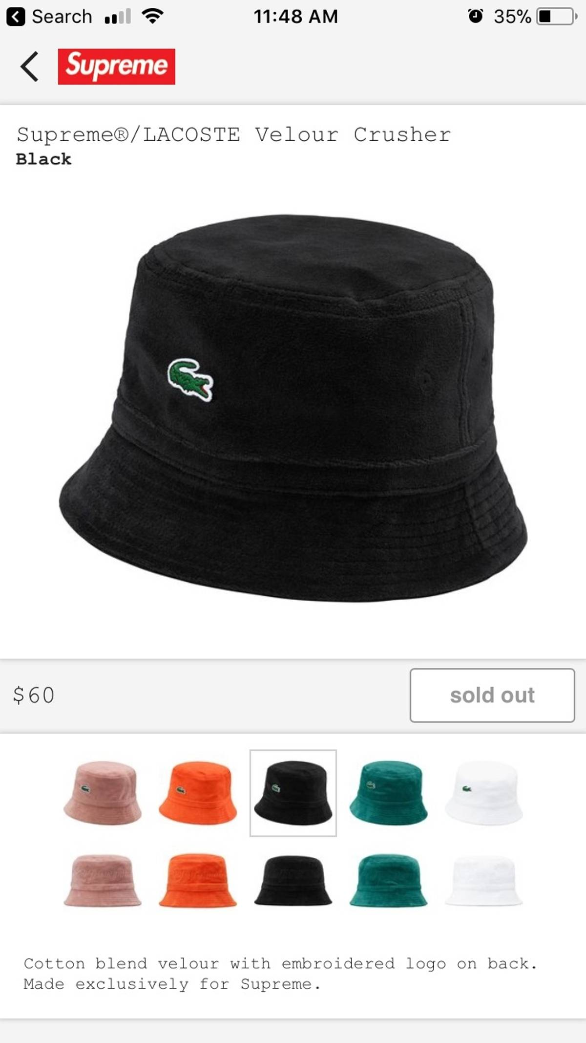 478a5094 Supreme × Lacoste ×. Supreme X Lacoste Bucket Hat