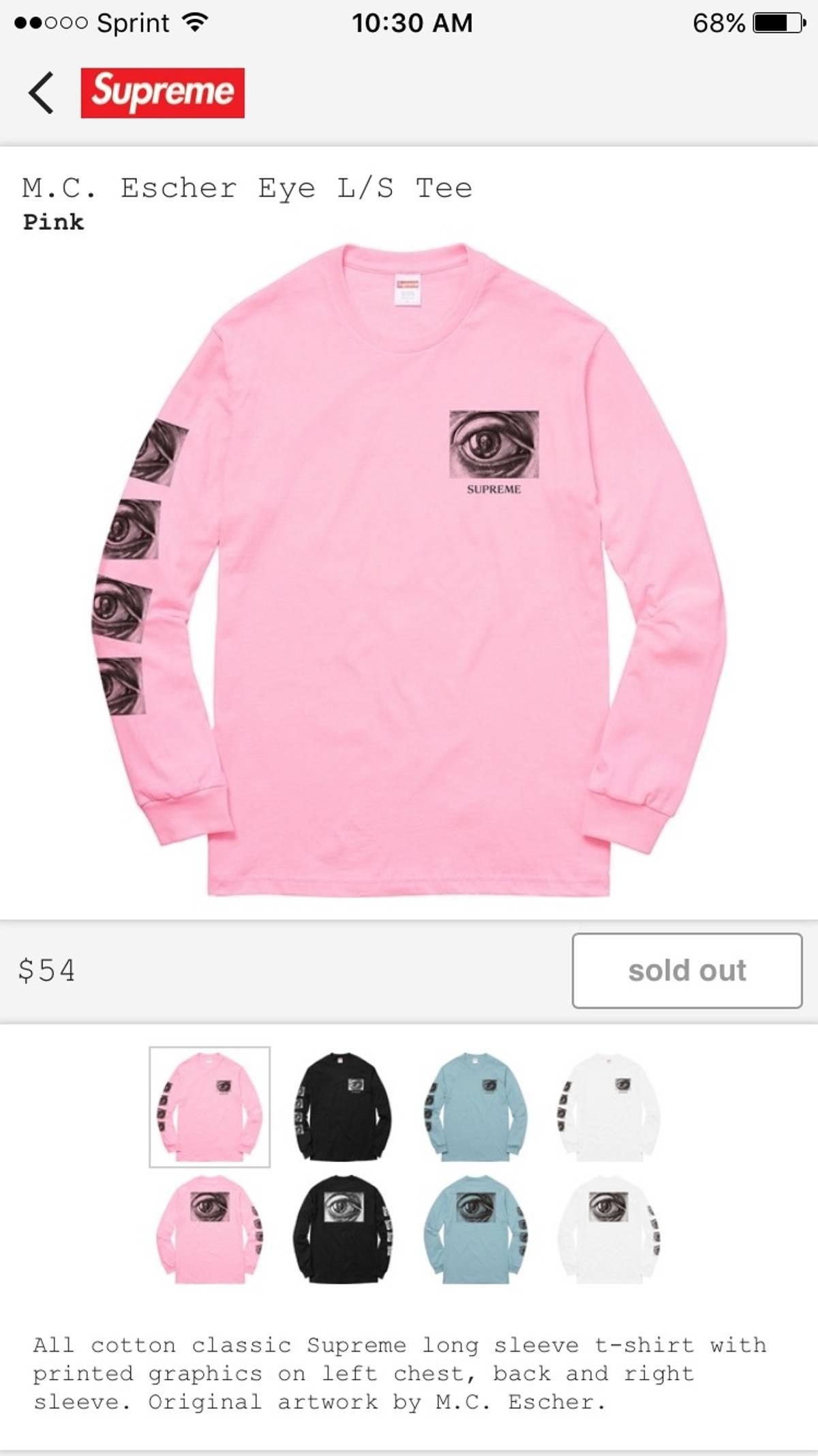 5a8884a77ccb Supreme Supreme Eyes Long Sleeve T Shirt Pink | Grailed