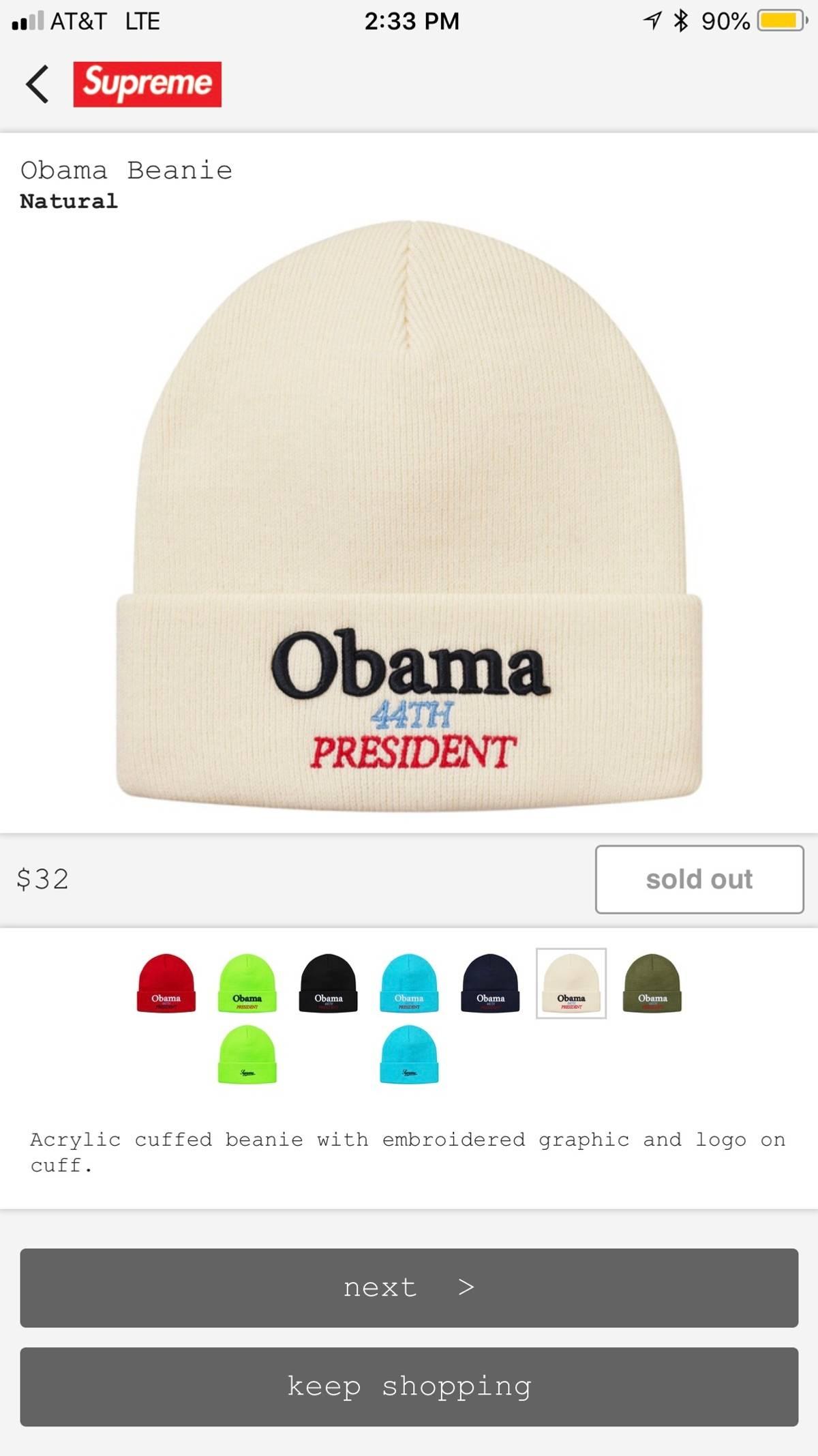 db42dfc3 Supreme ×. Supreme Obama Beanie. Size: ONE SIZE