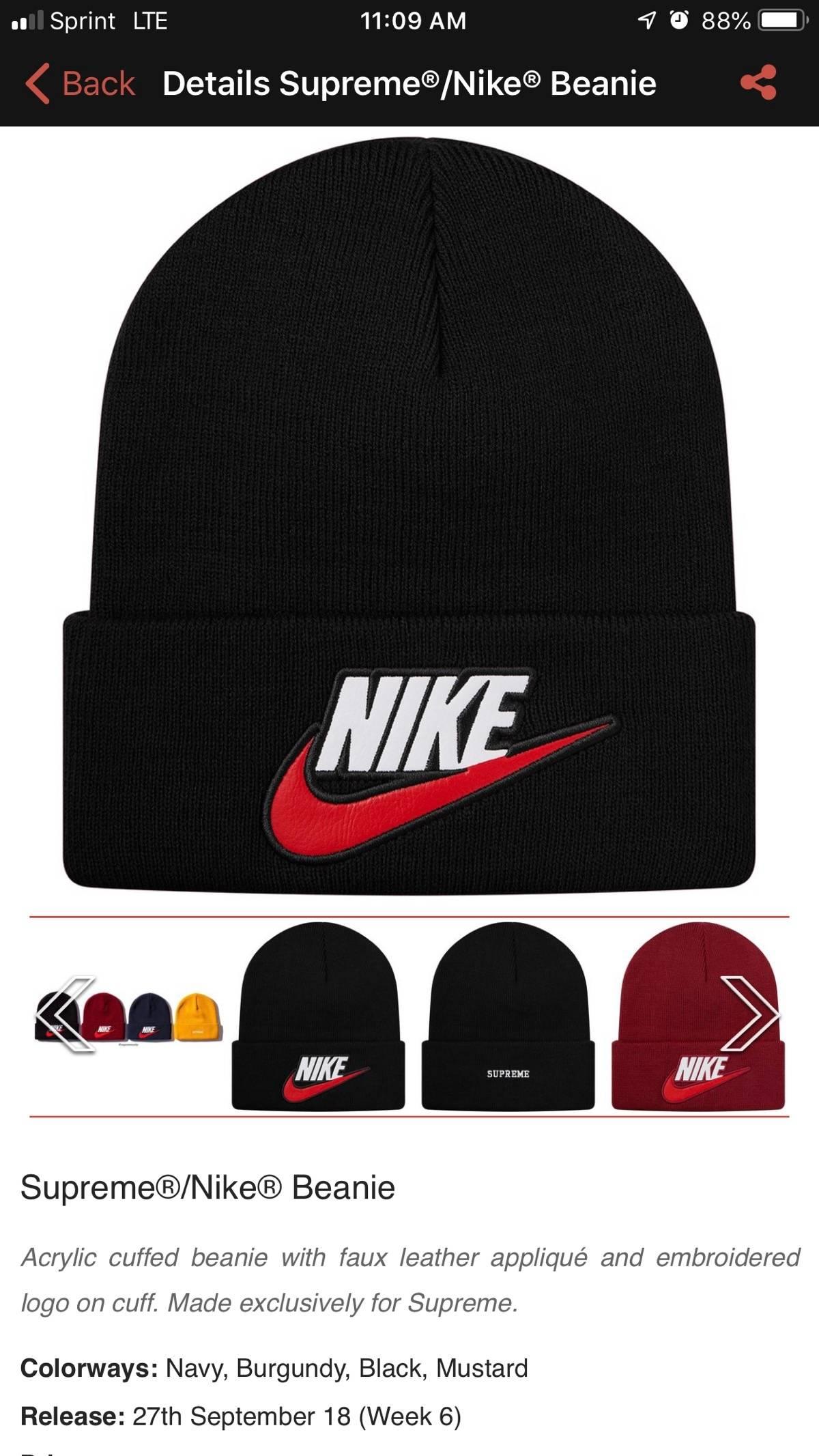 24fede75792 Supreme FW 18 Week 6 Supreme Nike Beanie Black Size one size - Hats for  Sale - Grailed