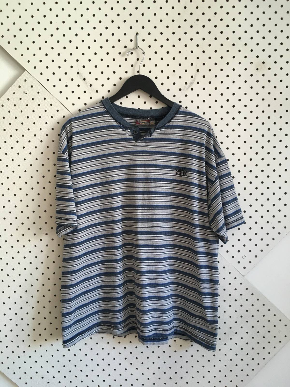 b6cac5d6 Vintage ×. vintage 90s zonz surf skate gray and blue striped henley tshirt