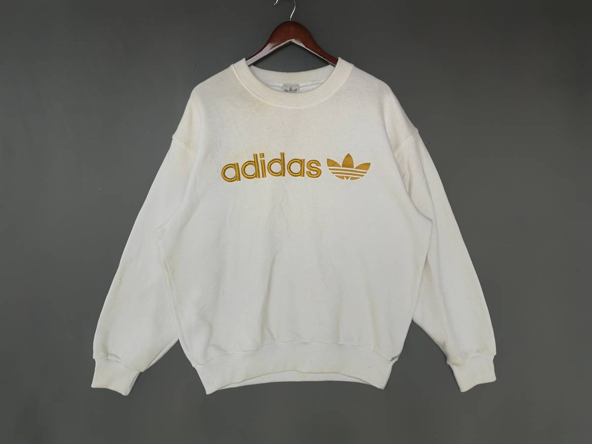 f0797df7c0d605 Adidas Vintage Adidas Sweatshirt Gold Embroidered Spellout   Adidas ...