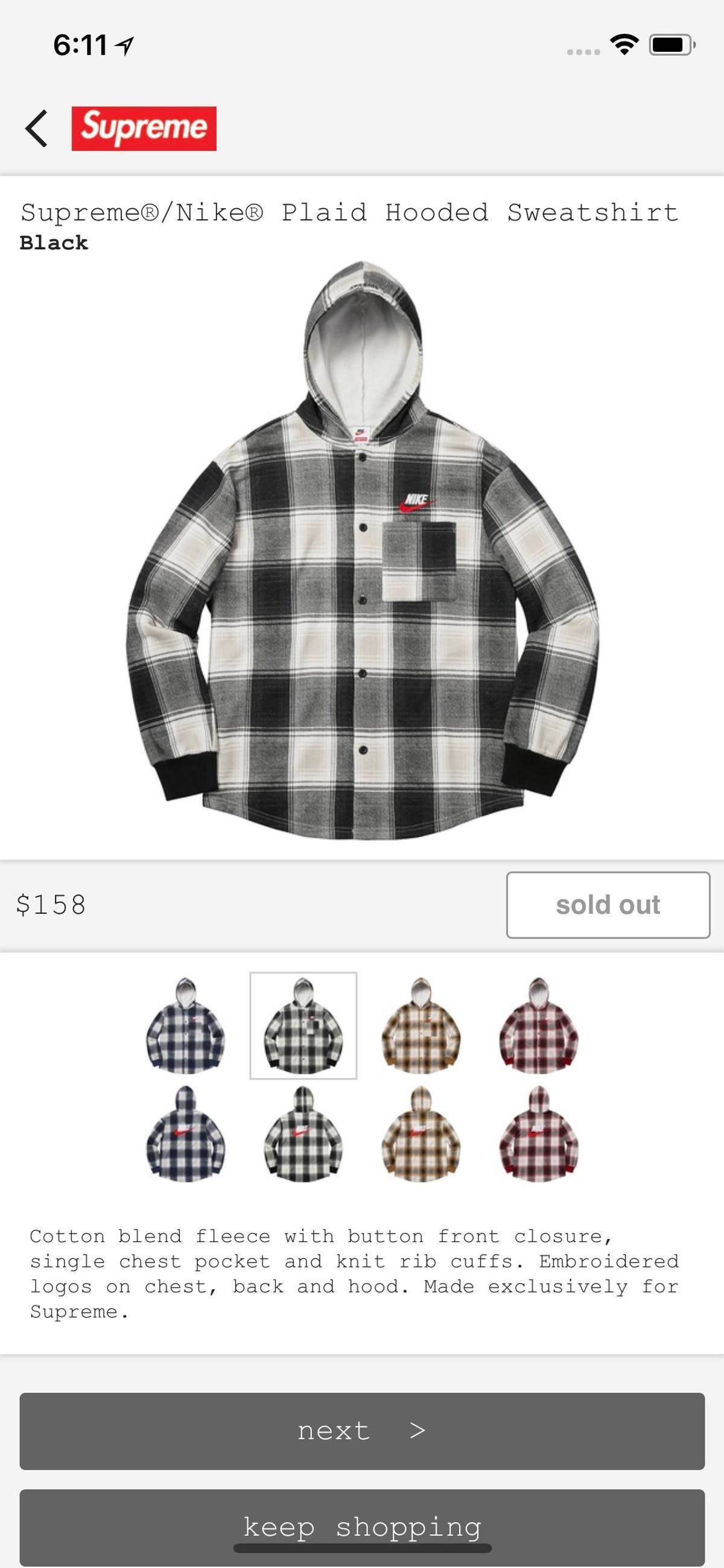 best service structural disablities amazing price Nike × Supreme Nike Supreme Plaid Hooded Sweatshirt Size M $194