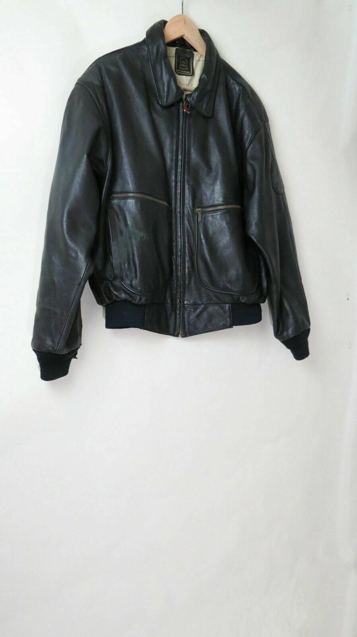 Vintage Echt Leder black bomber leather jacket 44