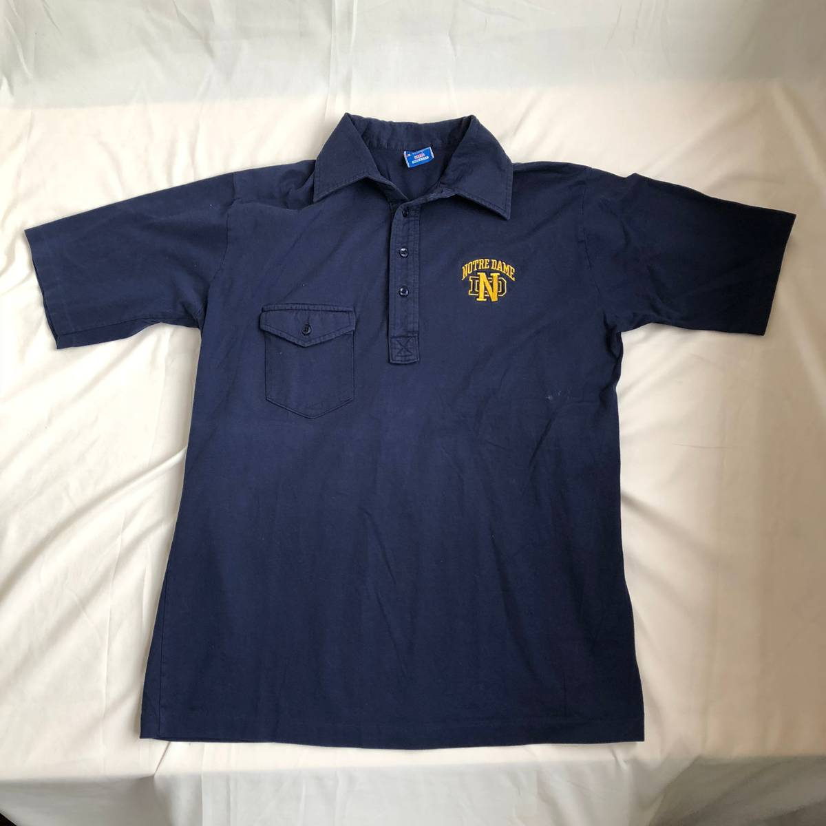 f08f2e74c Vintage Vtg Champion Notre Dame Polo Shirt Sz Large 80s/90s Navy Blue Usa  Made Stitched | Grailed