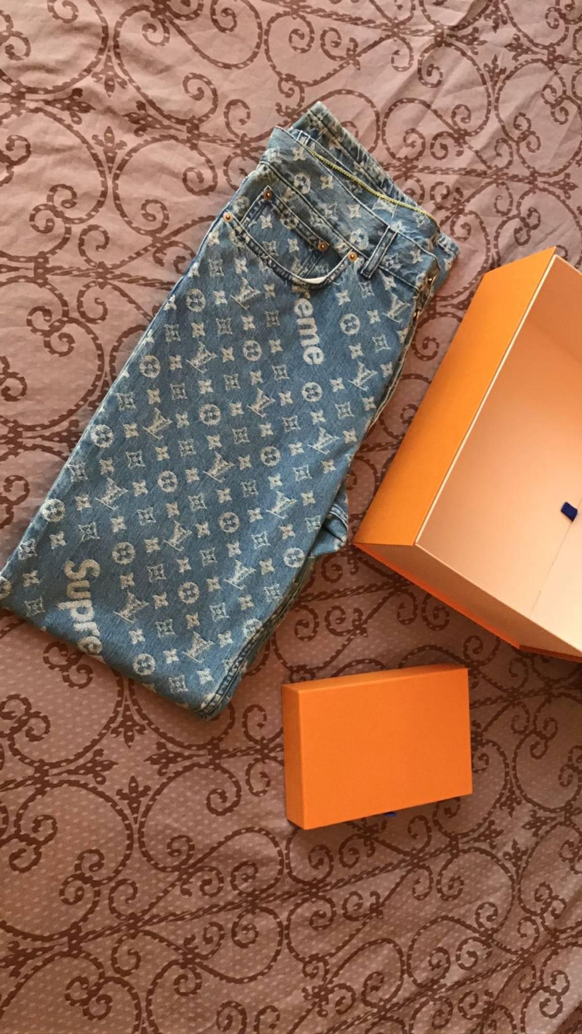 2821385998b6 Supreme × Louis Vuitton. supreme x louis vuitton monogram denim jean 38