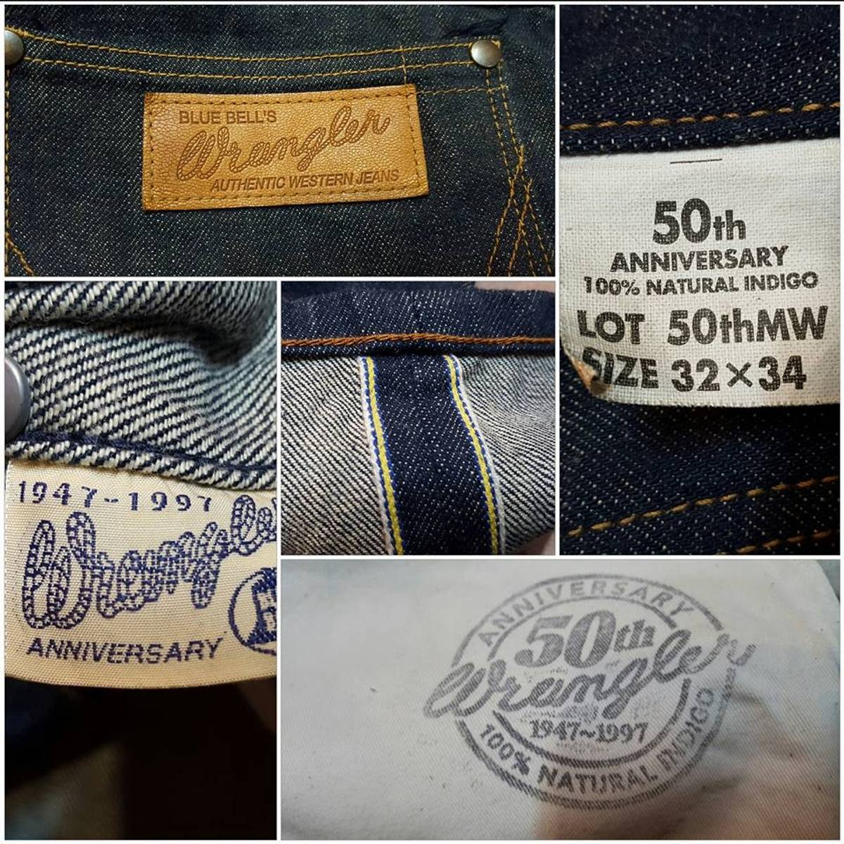 online store fast color quality products Wrangler Wrangler Selvedge 1997 50 Th Anniversary Jeans Limited Special  Edition Rare Levis Size 32 $169