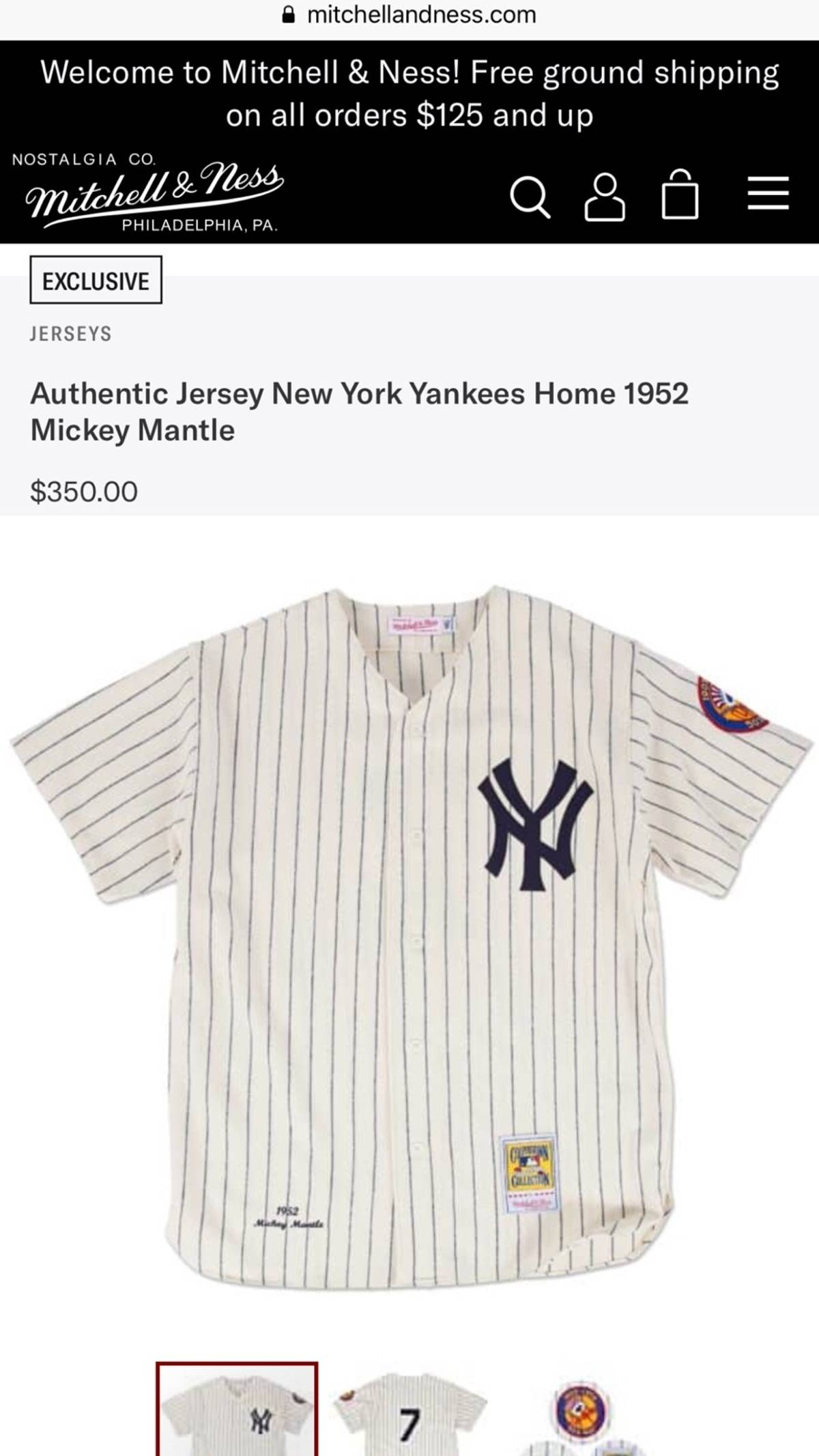 new products 644d0 1832e Mitchell & Ness Mickey Mantle Jersey Size L $145