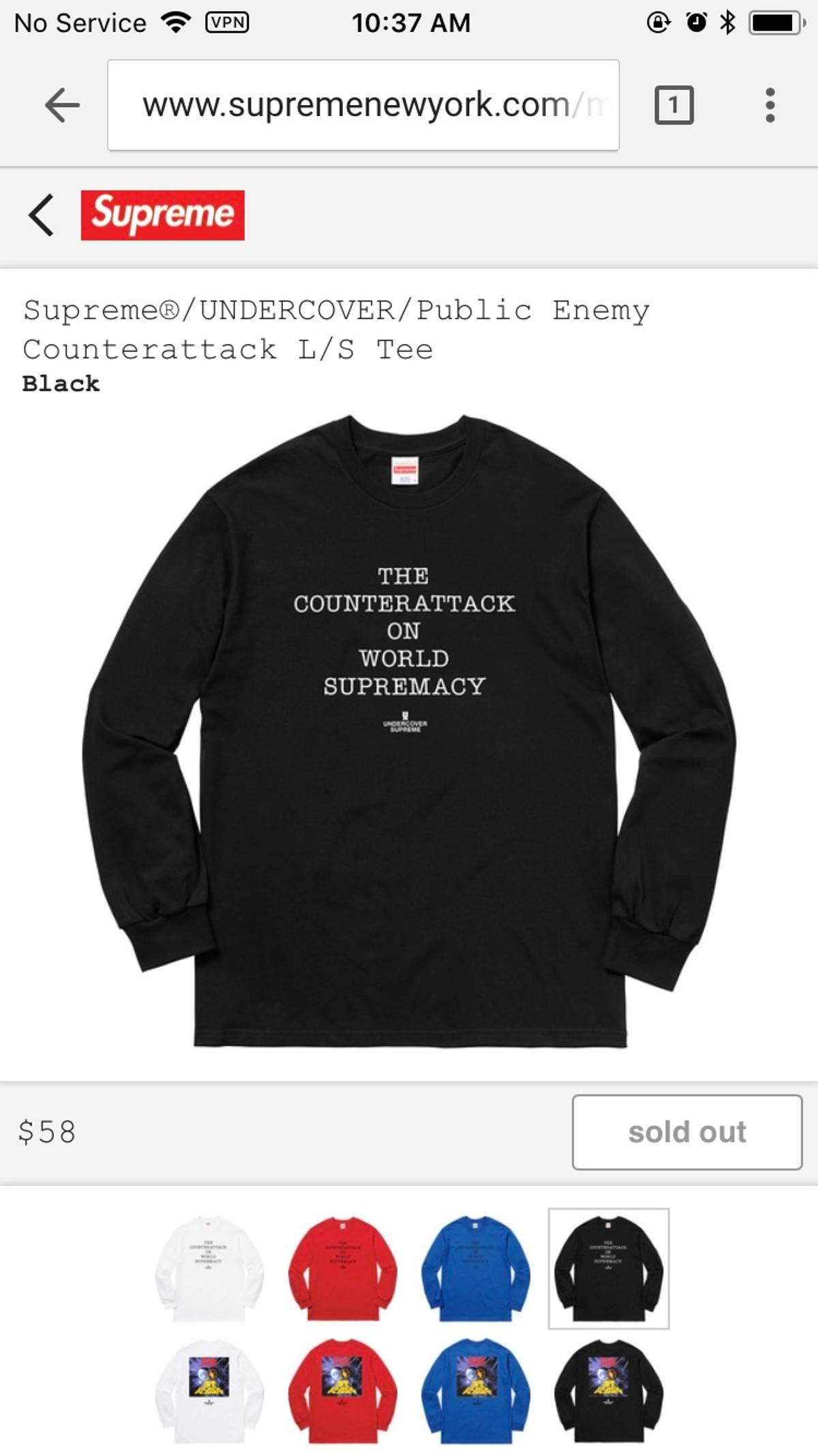 61626f74e2de Supreme × Undercover × Public Enemy ×. Counter Attack LS
