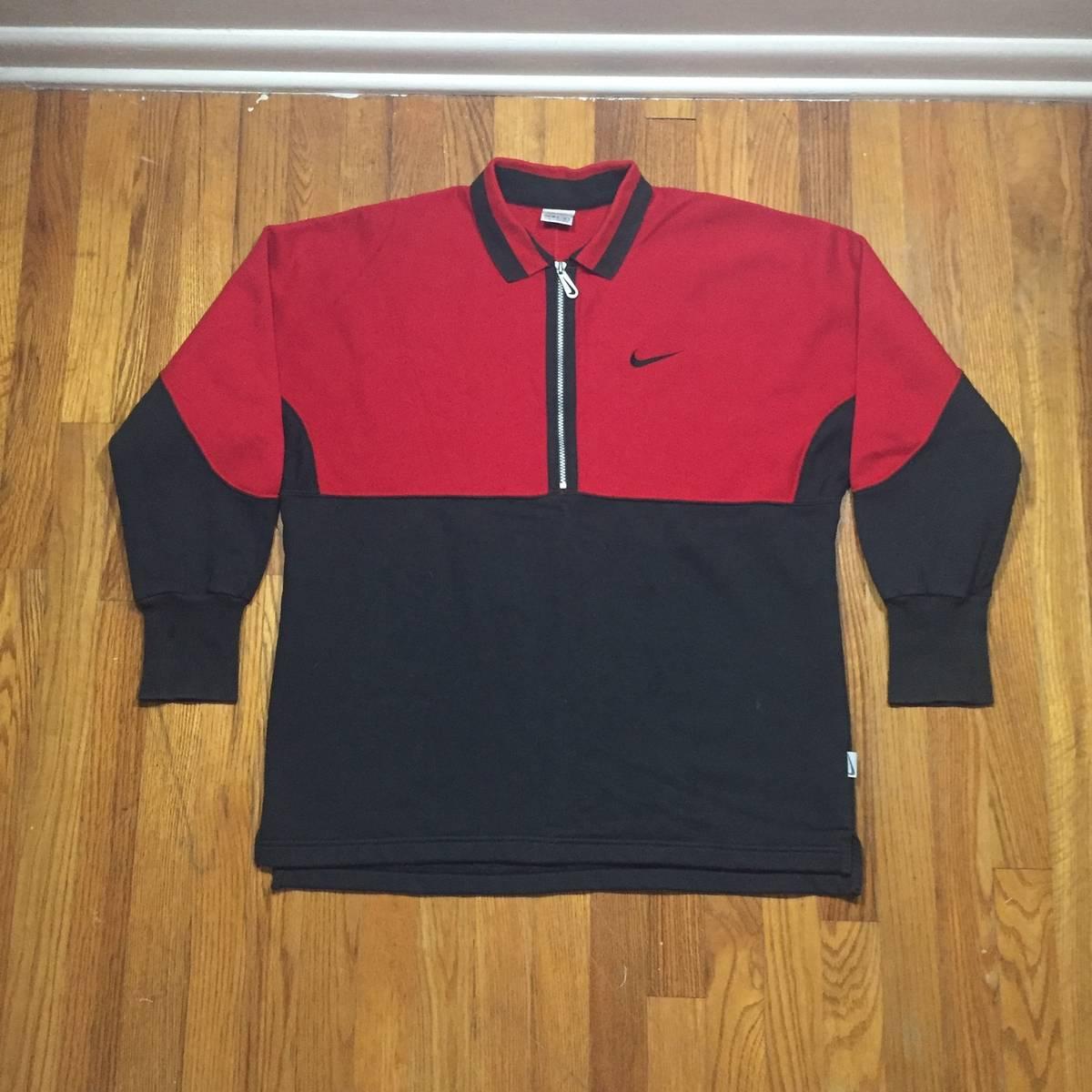 Nike Vintage Long Sleeve Zipper Polo Shirt Size M Polos For Sale