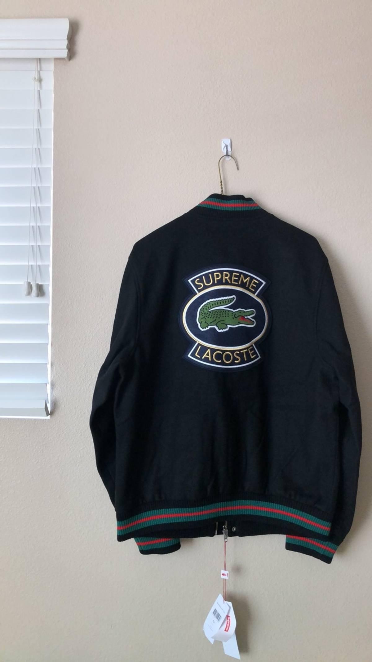 f164b16898029 Supreme  LAST DROP  Supreme LACOSTE Wool Varsity Jacket - Black Size m -  Light Jackets for Sale - Grailed